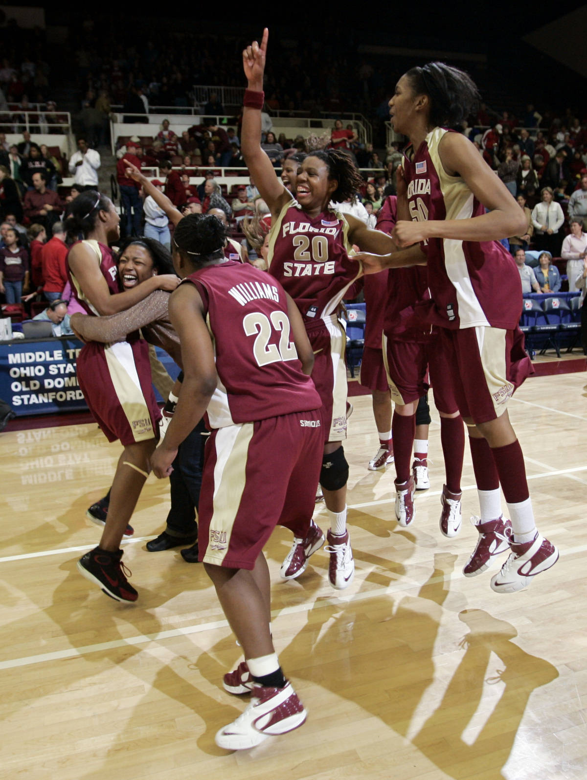 Florida State players celebrate after they upset Stanford 68-61 in their second-round game in the NCAA women's basketball tournament in Stanford, Calif., Monday, March 19, 2007. (AP Photo/Paul Sakuma)