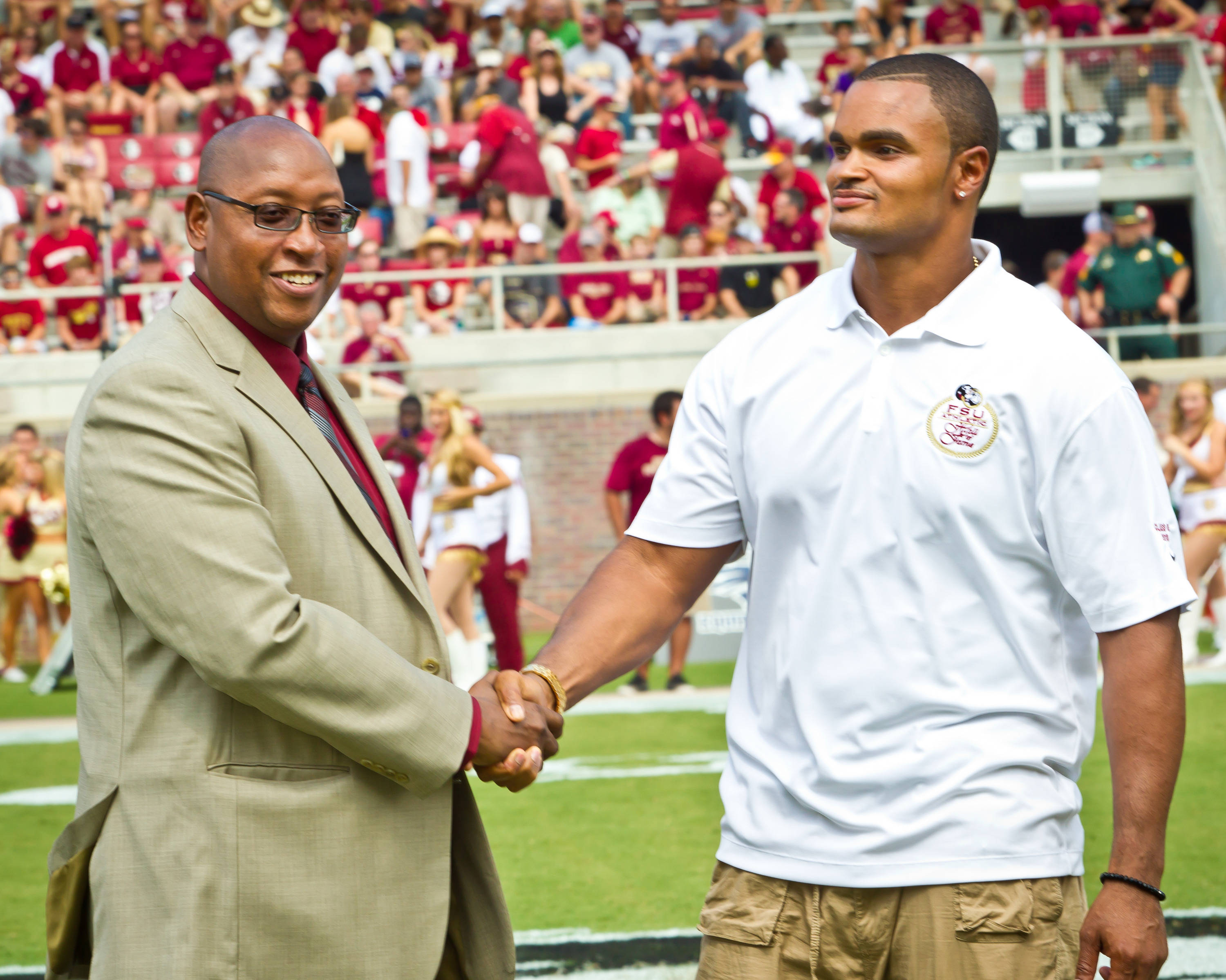 Athletic Director Stan Wilcox with Hall of Fame inductee Jamal Reynolds.
