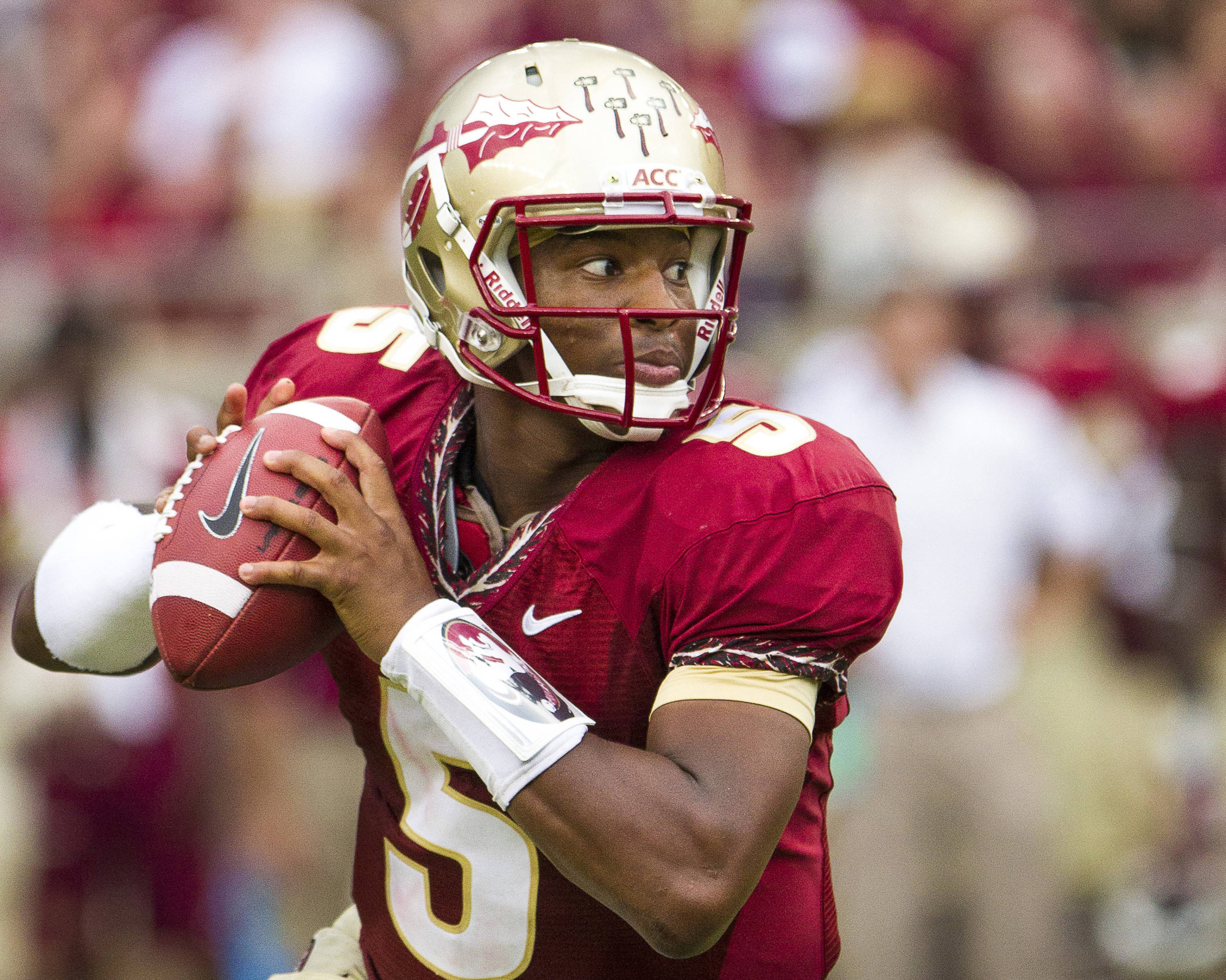 Jameis Winston (5) during FSU's 62-7 win over Nevada on Saturday, Sept 14, 2013 in Tallahassee, Fla.