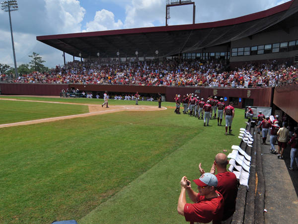FSU fans, players and coaches cheer after scoring a run in game 2.