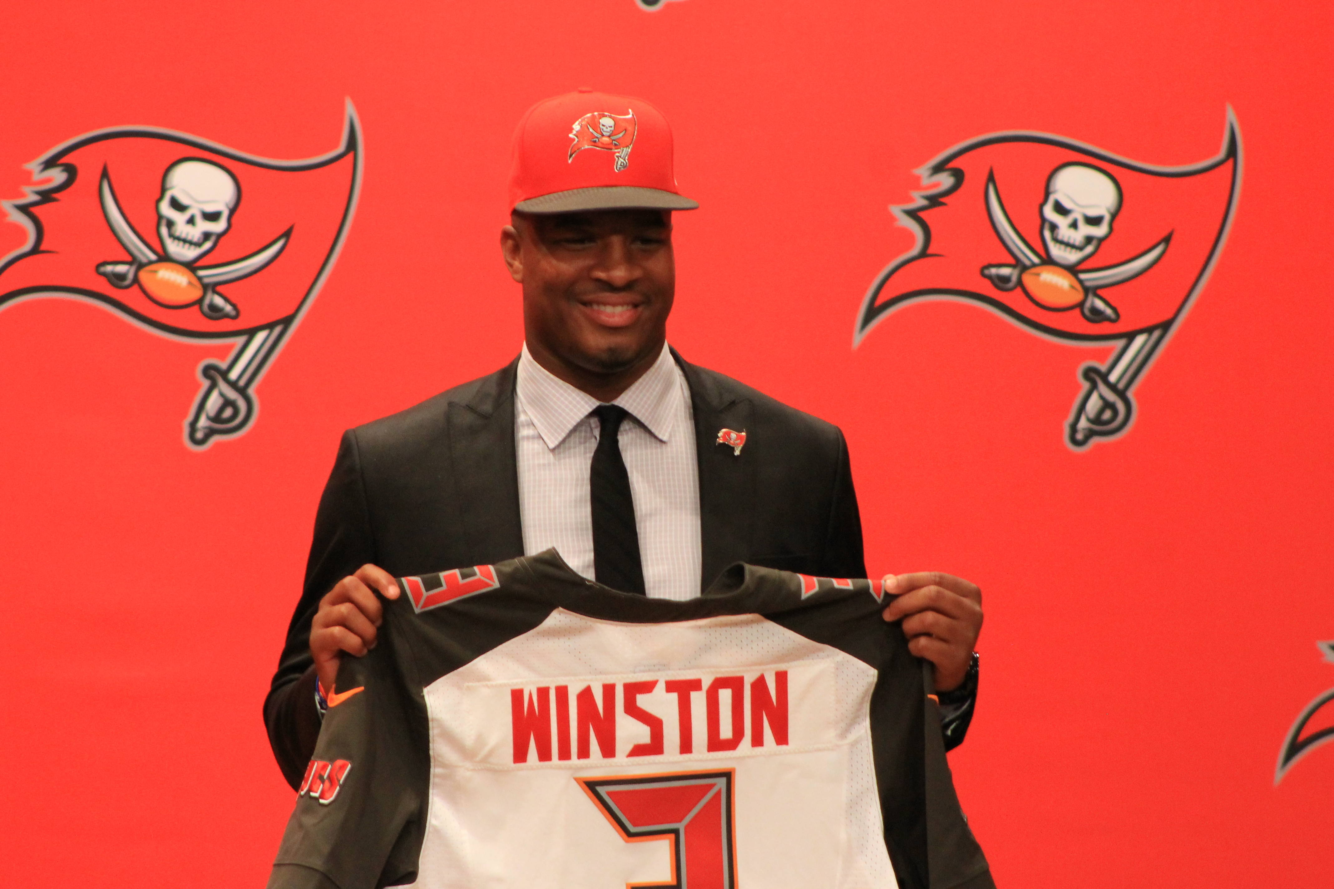 Jameis sports his new jersey.