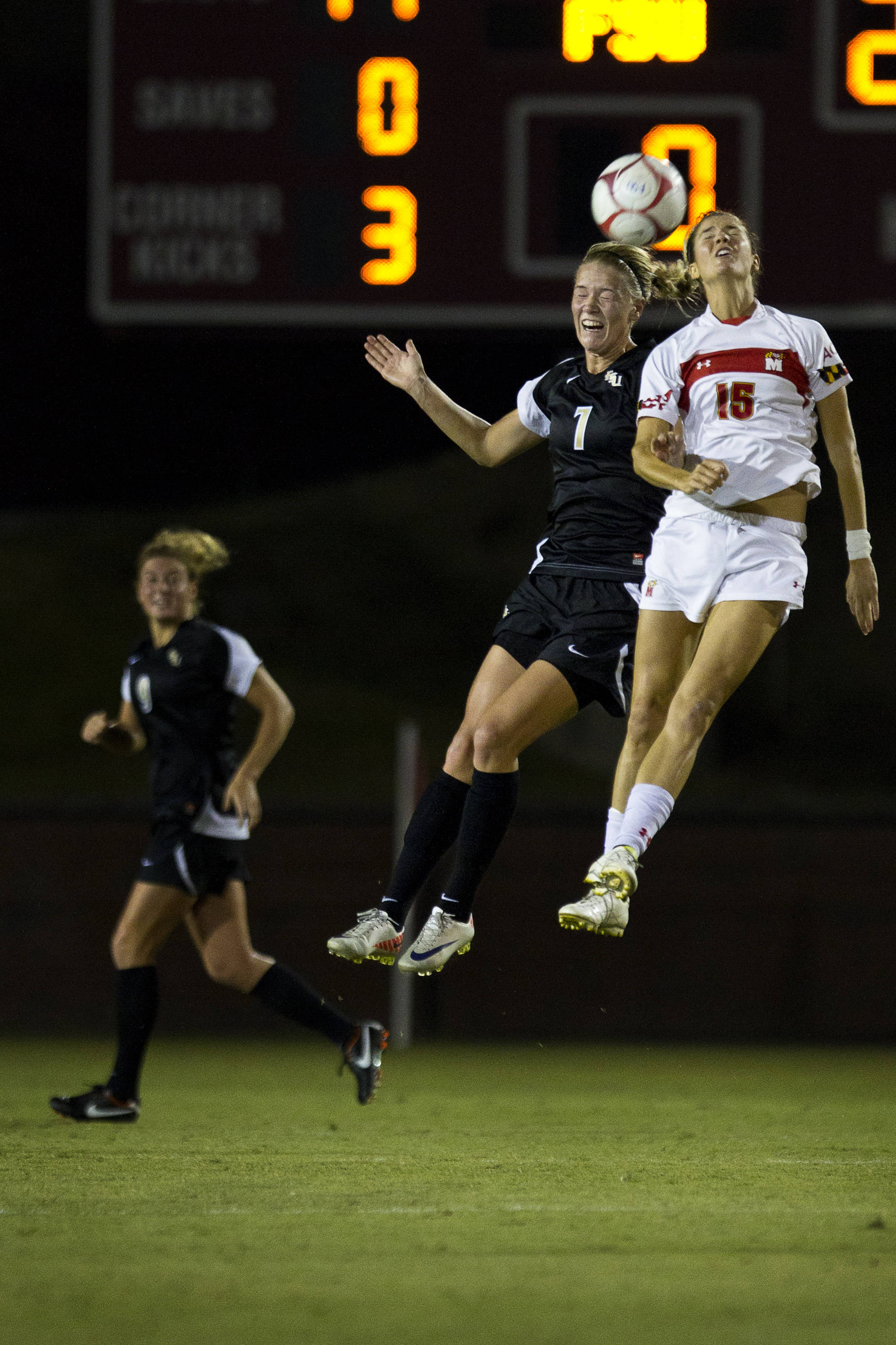 Dagny Brynjarsdottir (7) heads a ball during the game against Maryland on October 13, 2011.