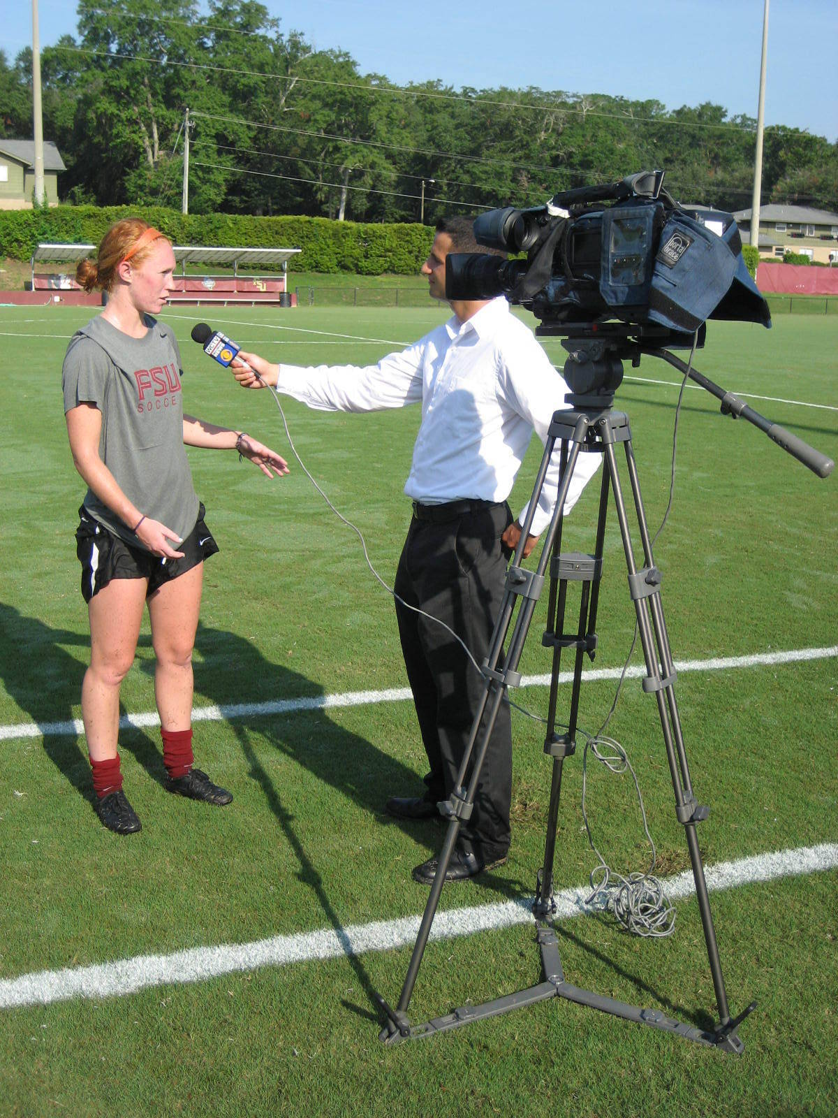 Senior Tori Huster talks to the media after Wednesday morning's first day of practice.