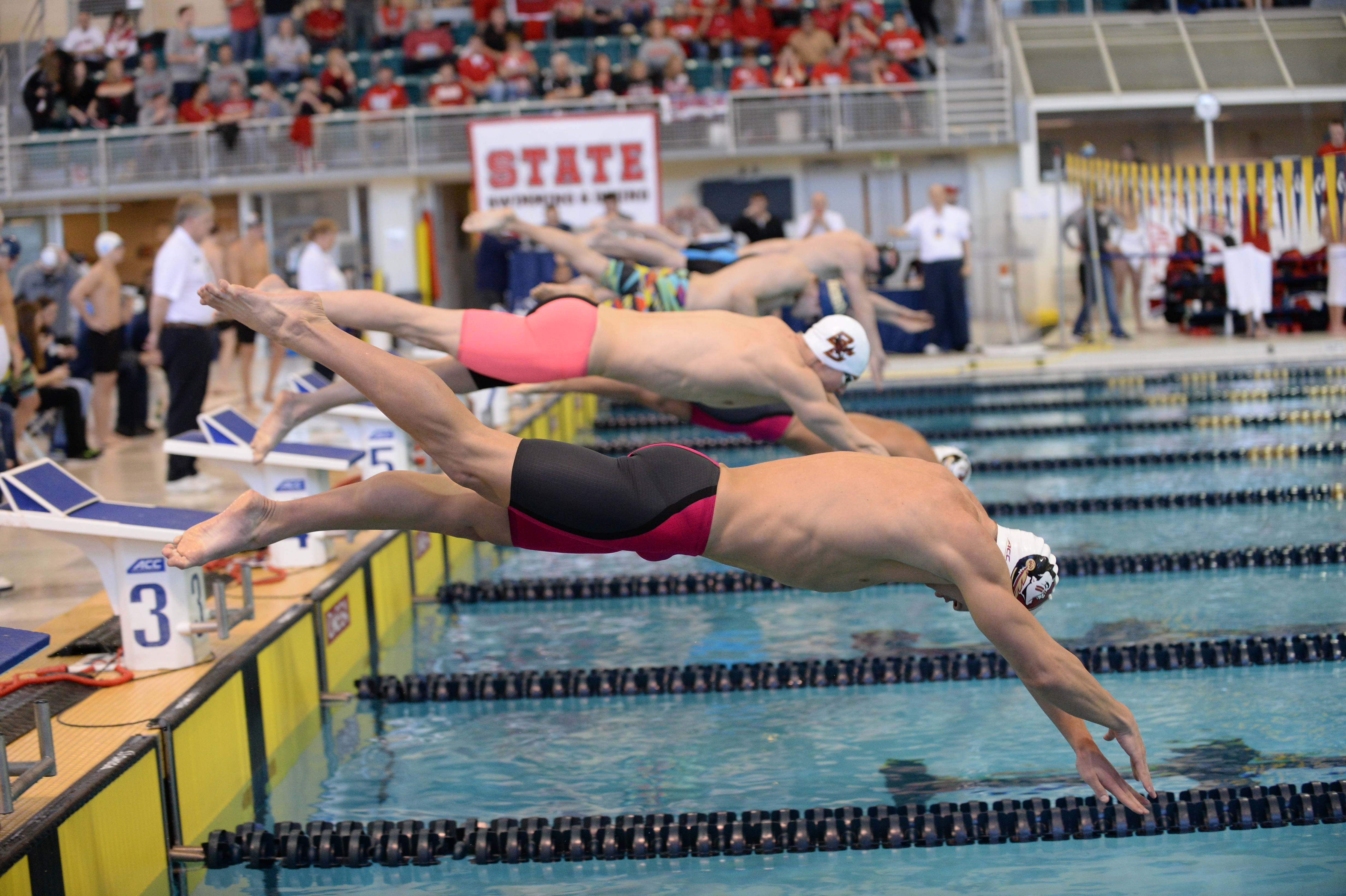 Ian Apple gets off the blocks in the 100 breast - Mitch White