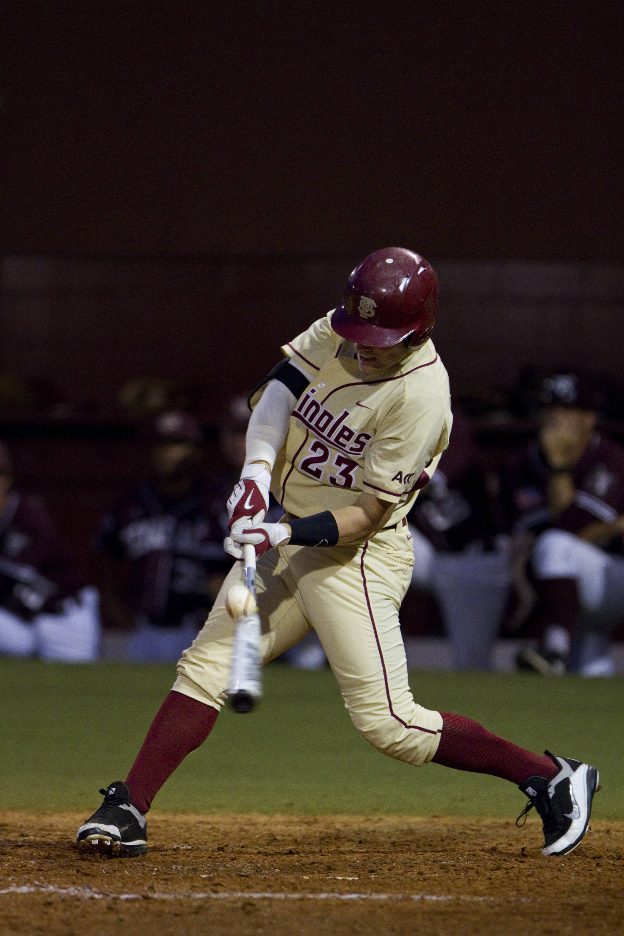 James Ramsey (23) gets a hit against Texas A&M.