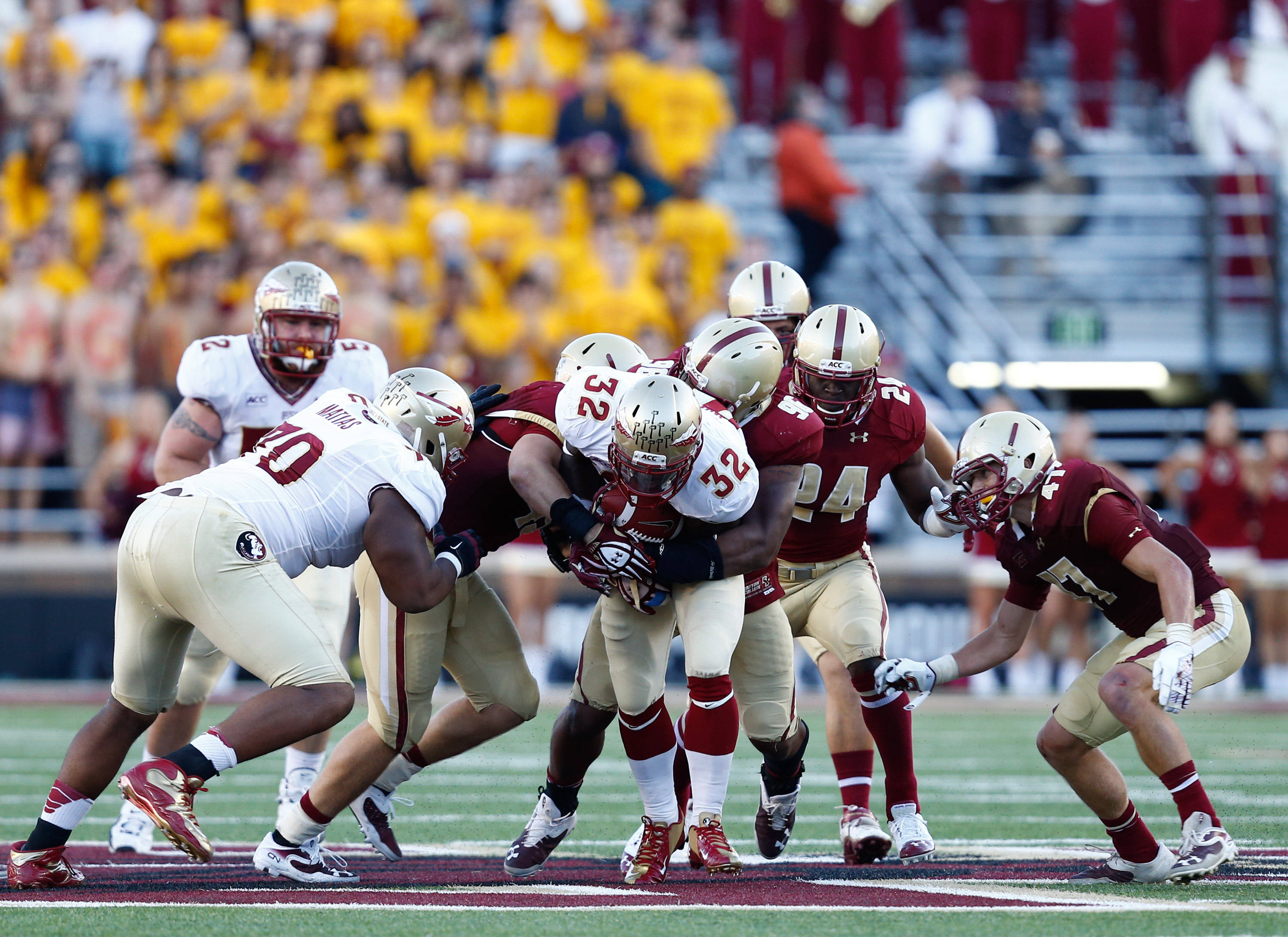 James Wilder Jr. (32) runs the ball against the Boston College Eagles. Mandatory Credit: Mark L. Baer-USA TODAY Sports