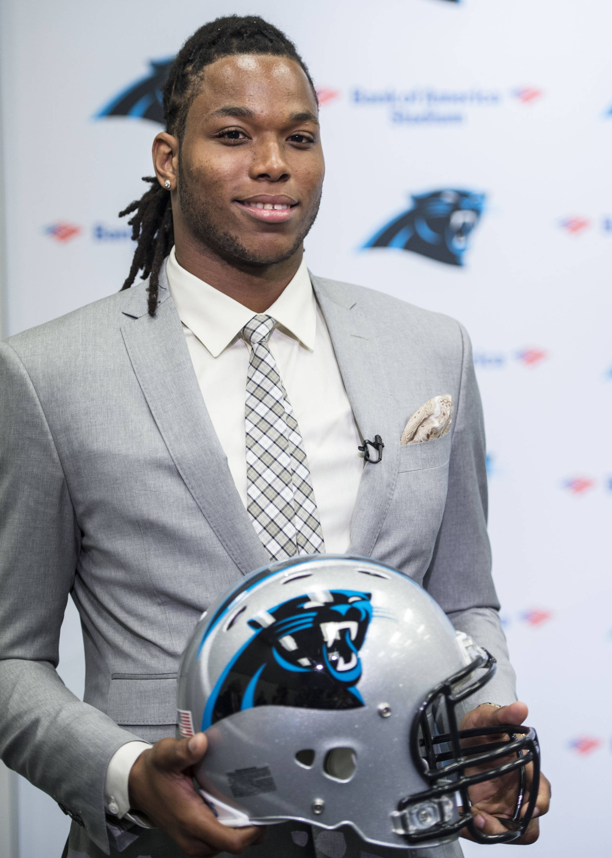 First round draft pick Kelvin Benjamin, a wide receiver from Florida State, visits Bank of American Stadium on Friday, May 9, 2014.