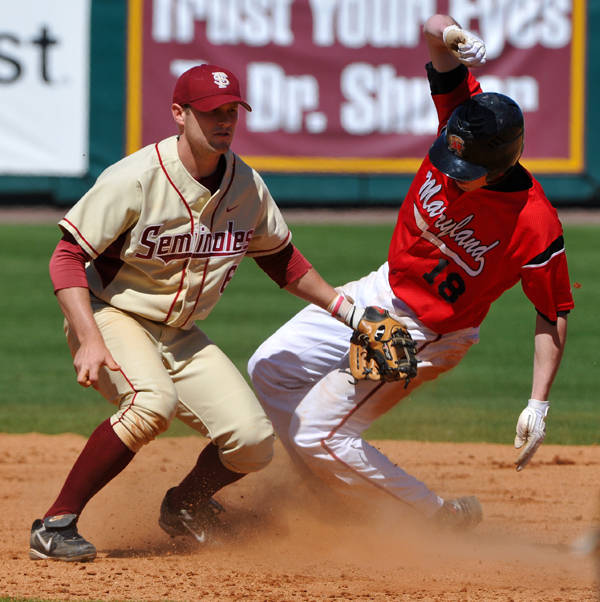 Tommy Oravetz on the tag at second base
