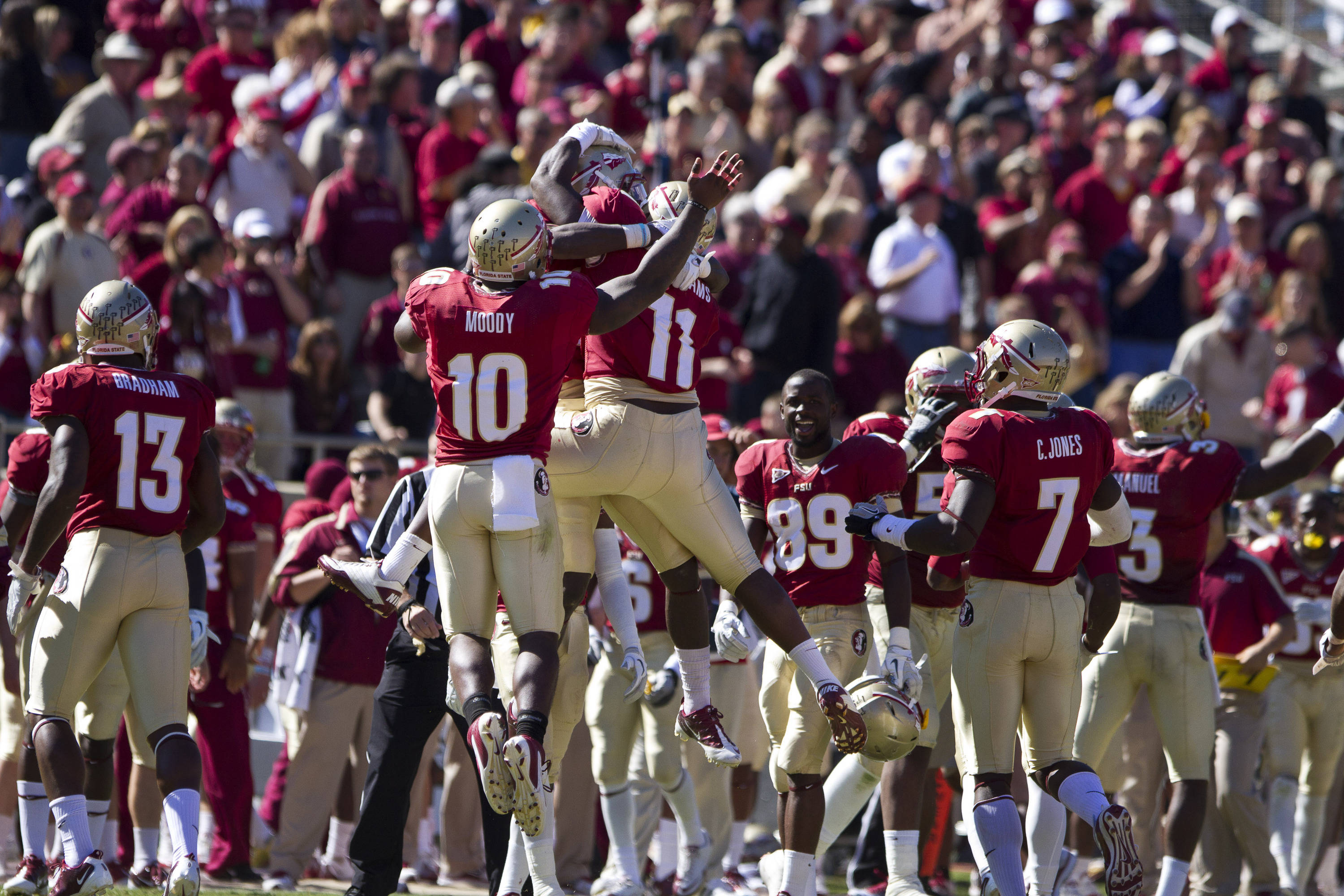 FSU players celebrate after a touchdown during the football game against NC State on October 29, 2011.
