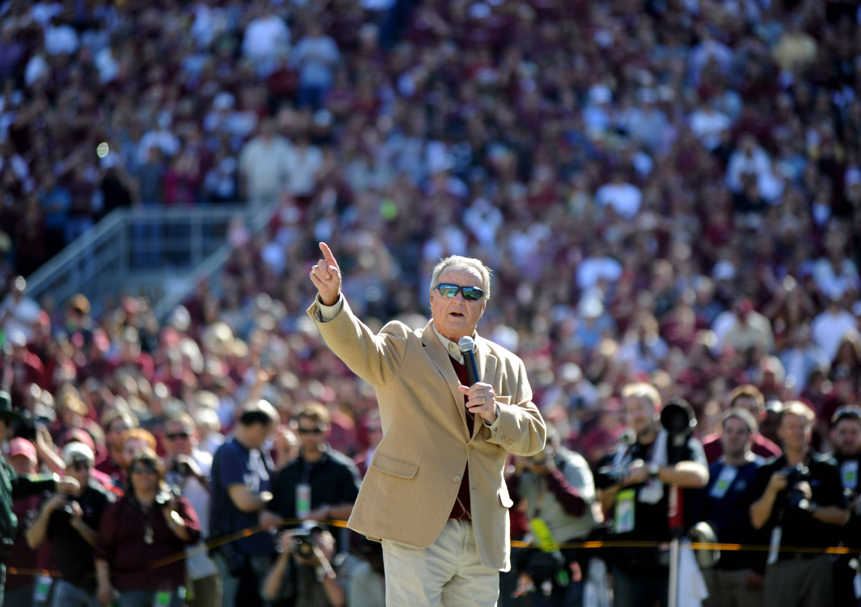 Former Florida State Seminoles head coach Bobby Bowden is honored before the game. Mandatory Credit: Melina Vastola-USA TODAY Sports