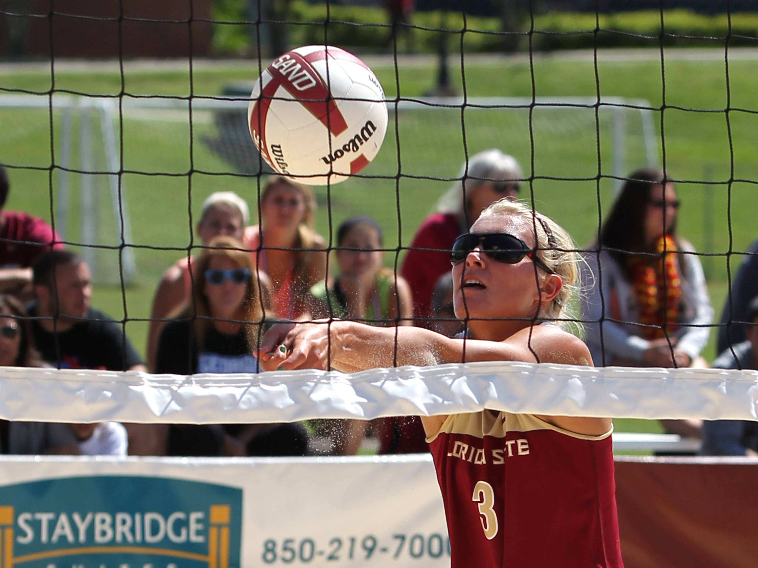 Julie Brown, Sand Volleyball Tournament,  04/20/13 . (Photo by Steve Musco)