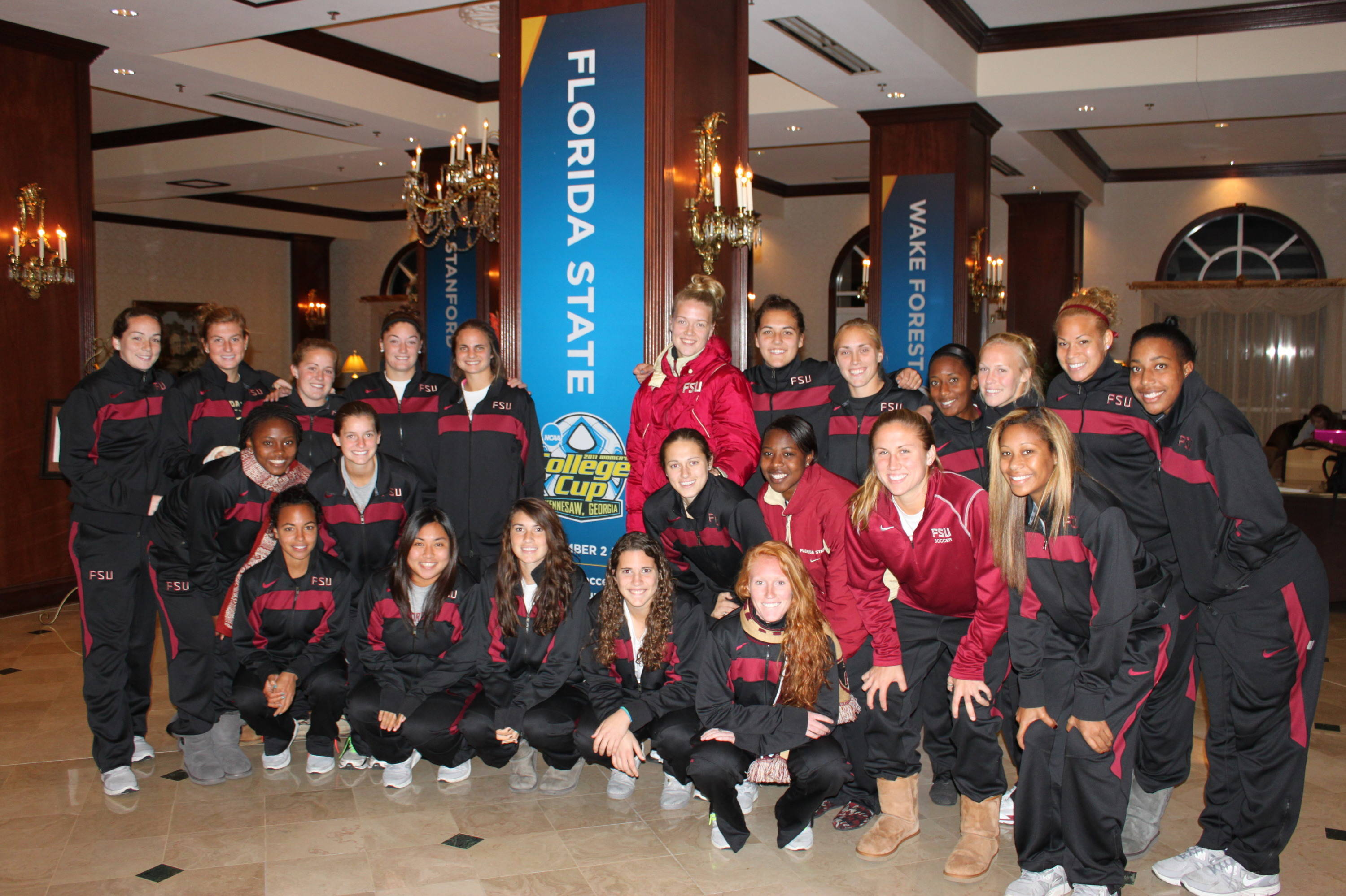 The team as they arrived at the hotel.