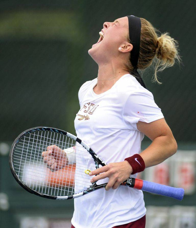 Amy Sargeant after clinching the match against Virginia.