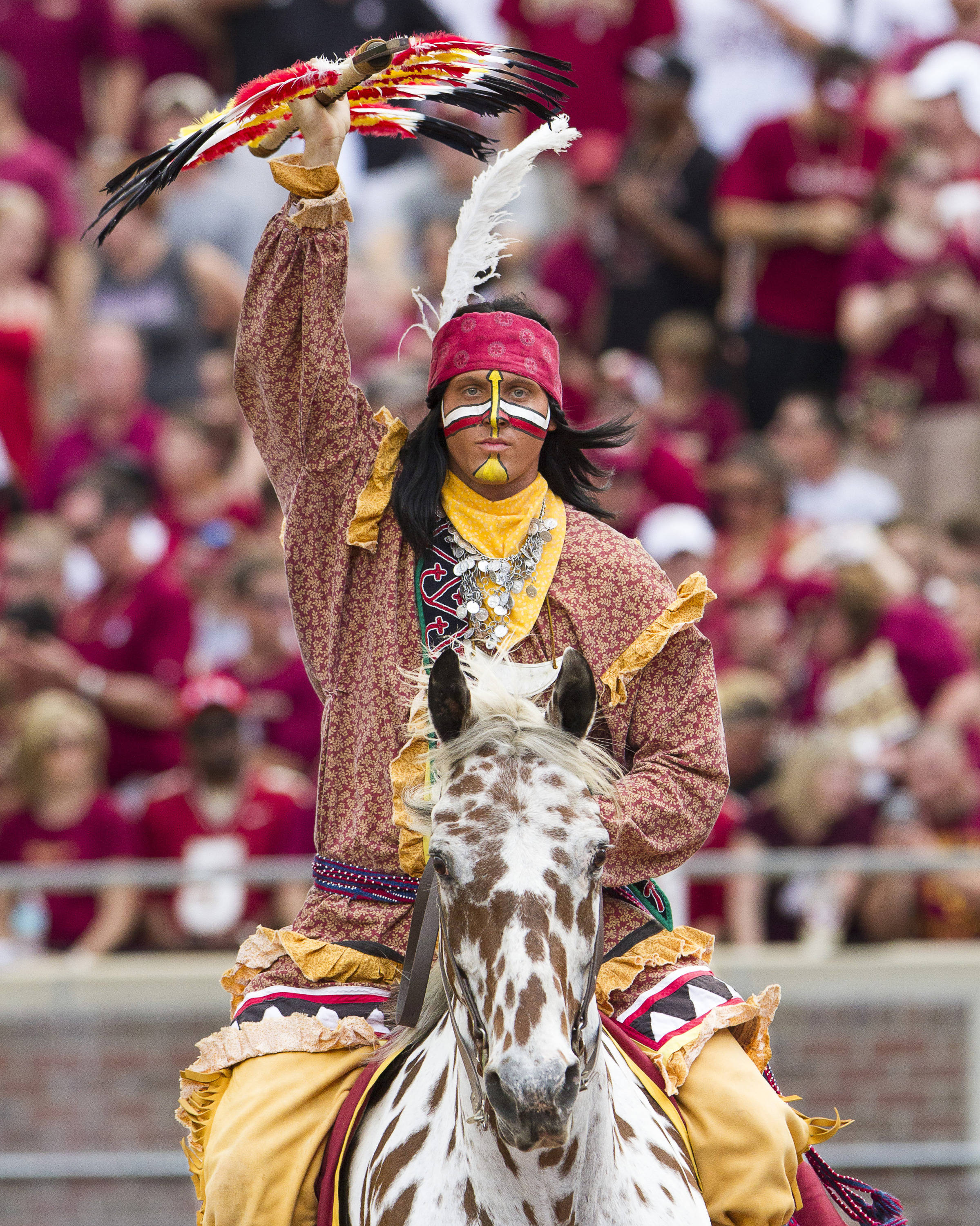 Osceola and Renegade celebrate during FSU's 62-7 win over Nevada on Saturday, Sept 14, 2013 in Tallahassee, Fla.