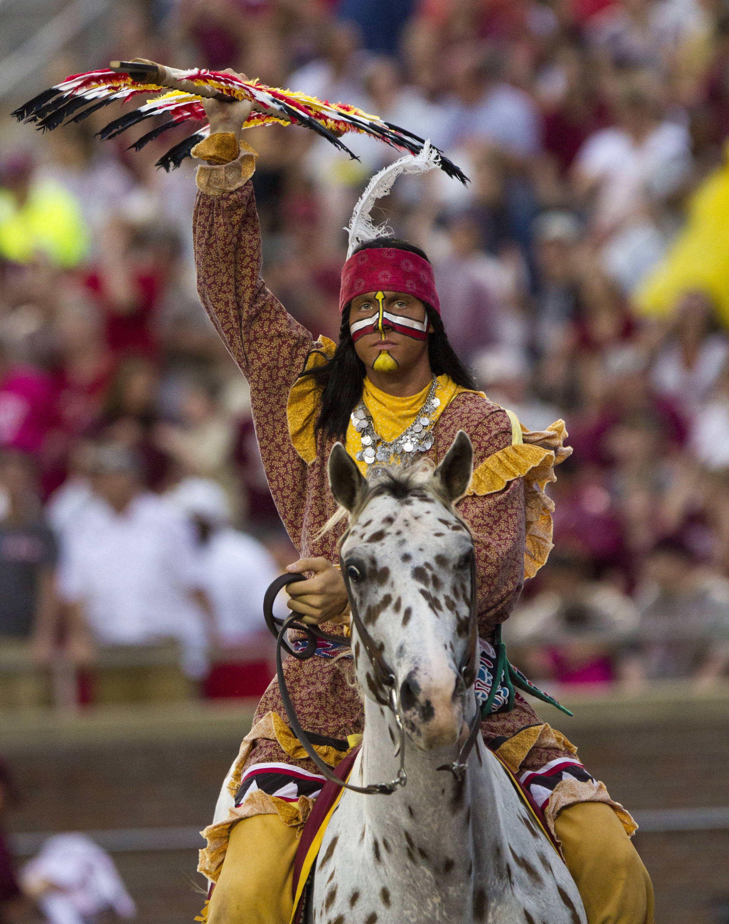 Chief Osceola celebrates during FSU Football's 54-6 win over Bethune-Cookman on September 21, 2013 in Tallahassee, Fla