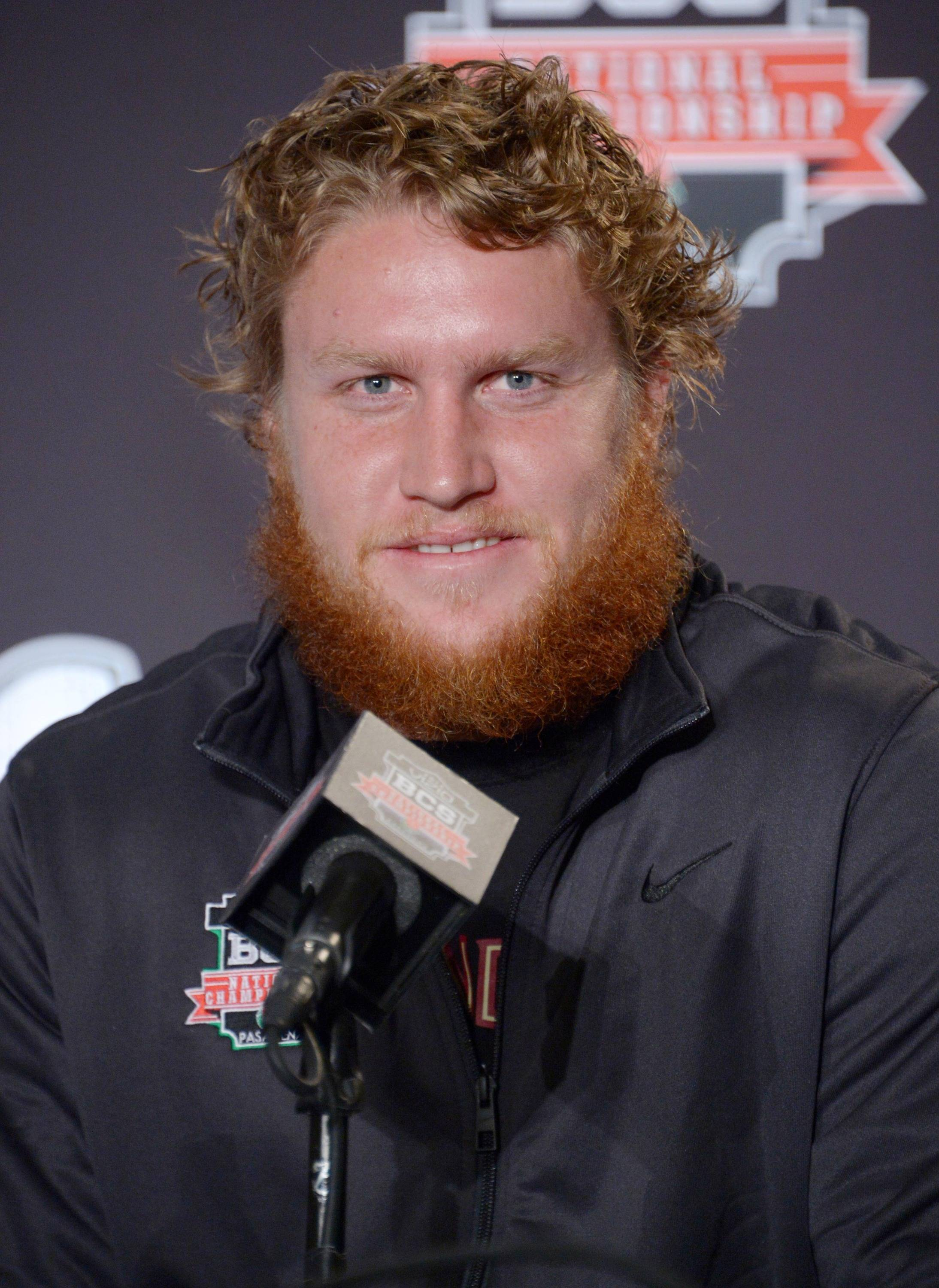 Florida State Seminoles tight end Nick O'Leary at a 2014 BCS National Championship press conference at Newport Beach Marriott. Mandatory Credit: Kirby Lee-USA TODAY Sports
