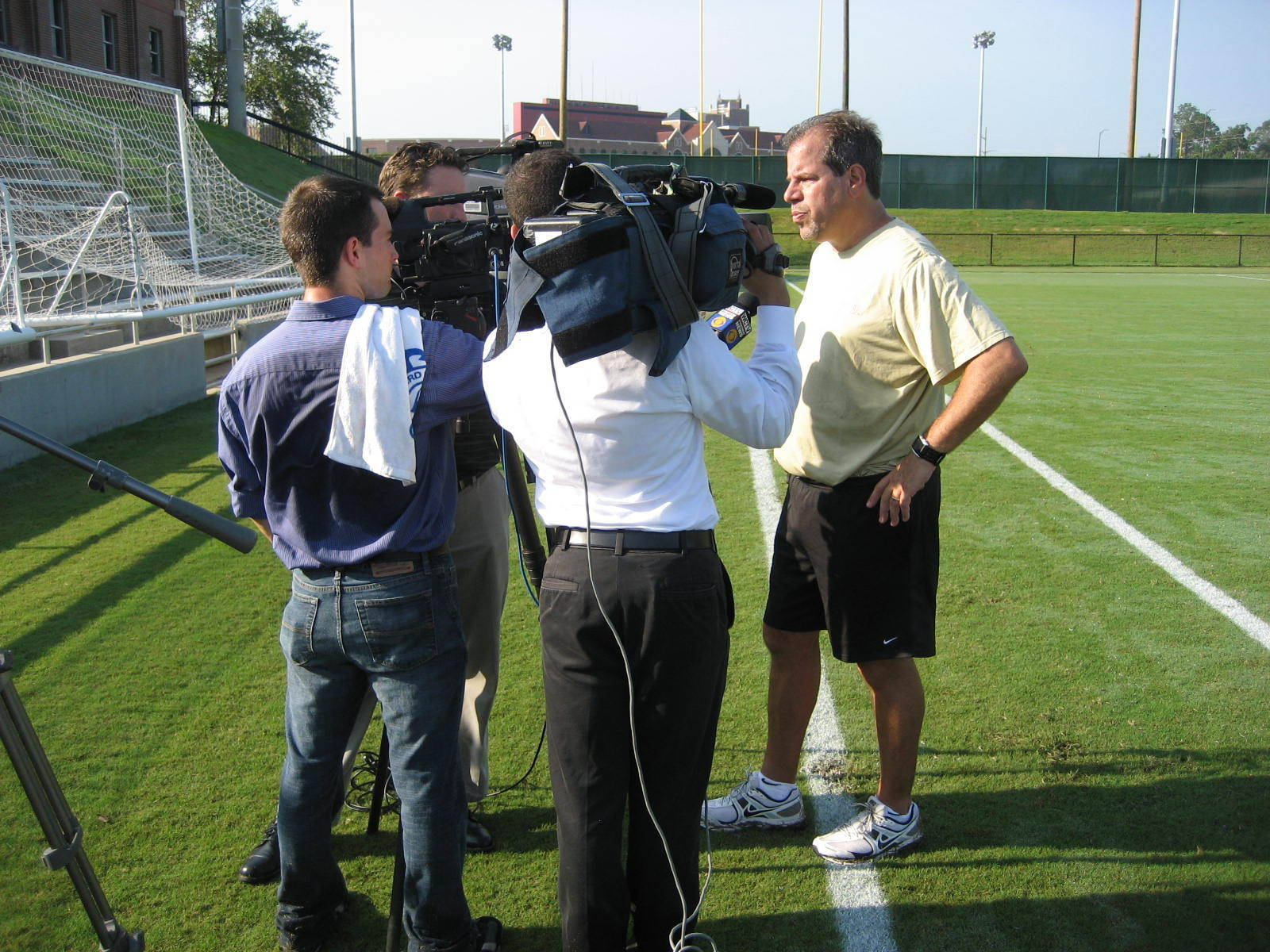 Head coach Mark Krikorian speaks with the media after Wednesday morning's practice session.