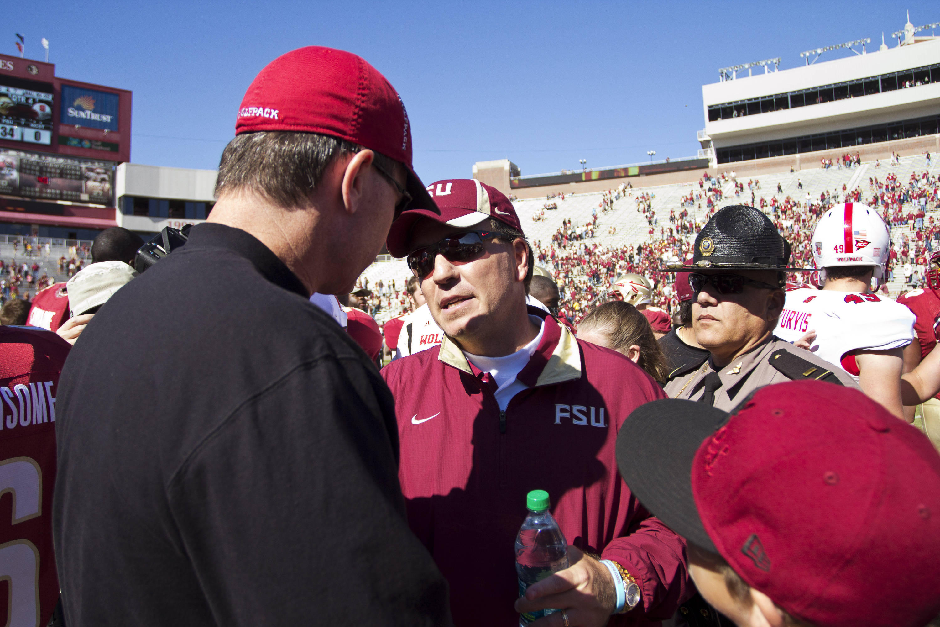 Jimbo Fisher meets with the other team after the football game against NC State on October 29, 2011.