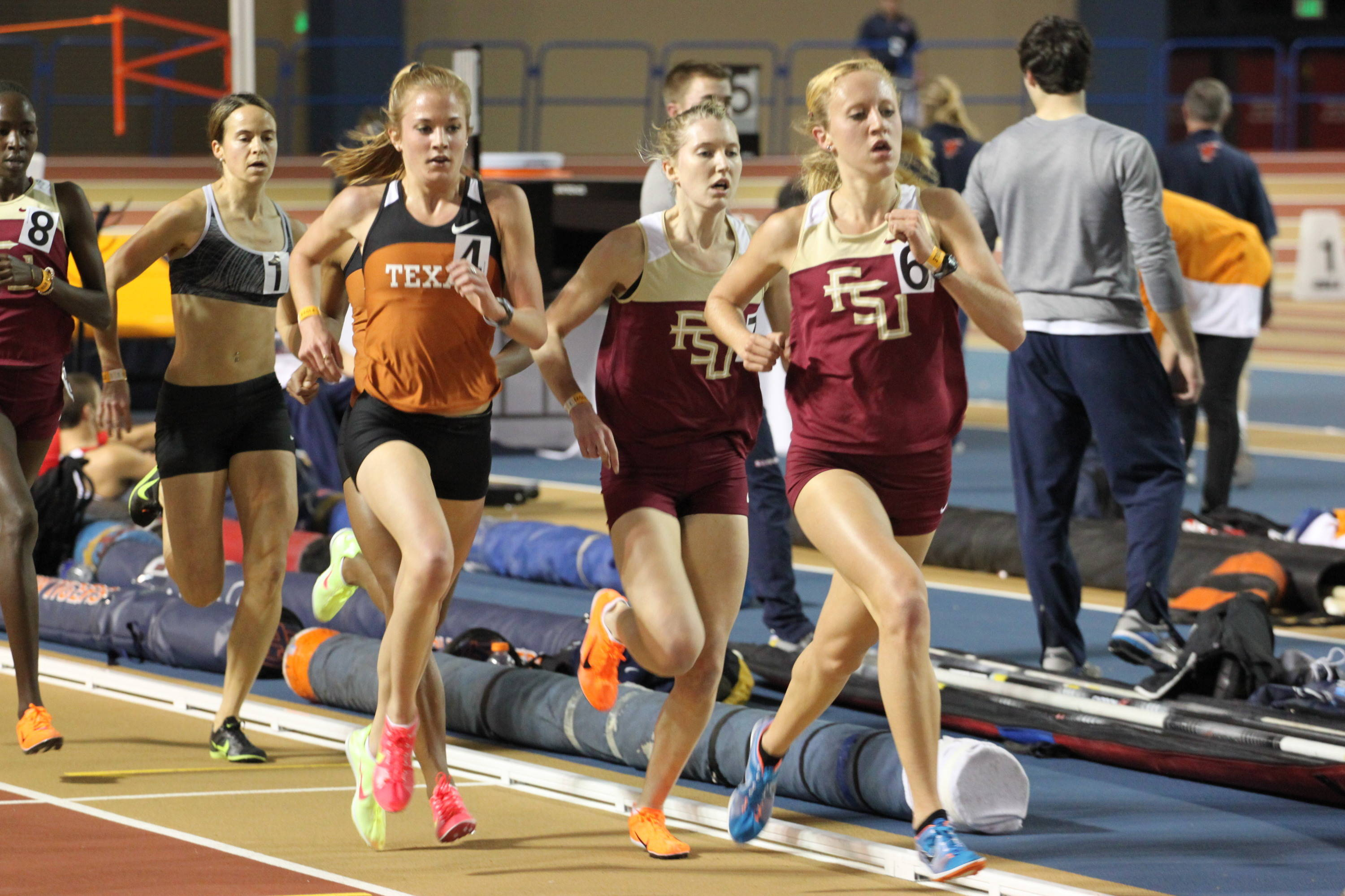 Amanda Winslow and Hannah Brooks lead the way in the 3000 meters, where the Seminoles went 1-2-3, with Violah Lagat (partially obscured) kicking to a third-place finish.