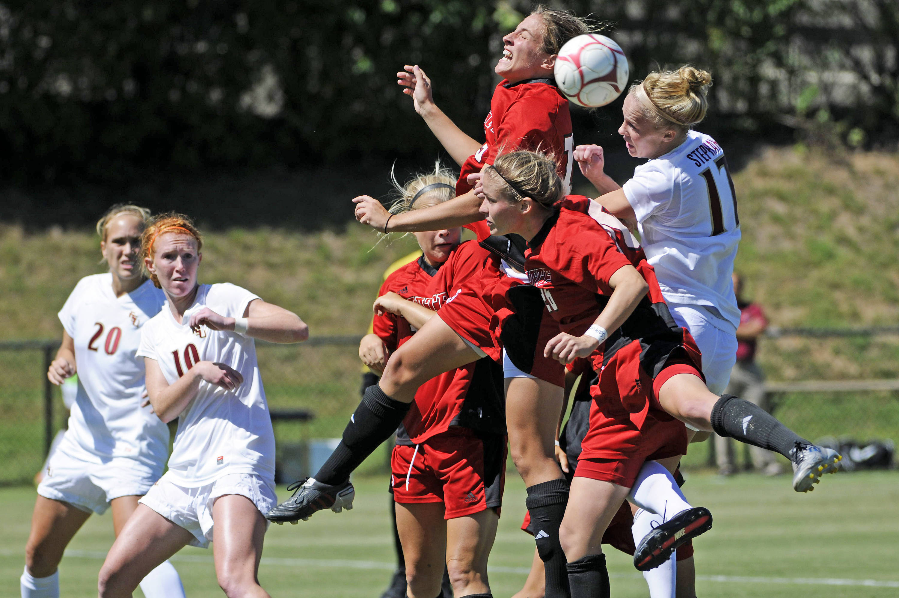 Ella Stephan goes up for a header against NC State.
