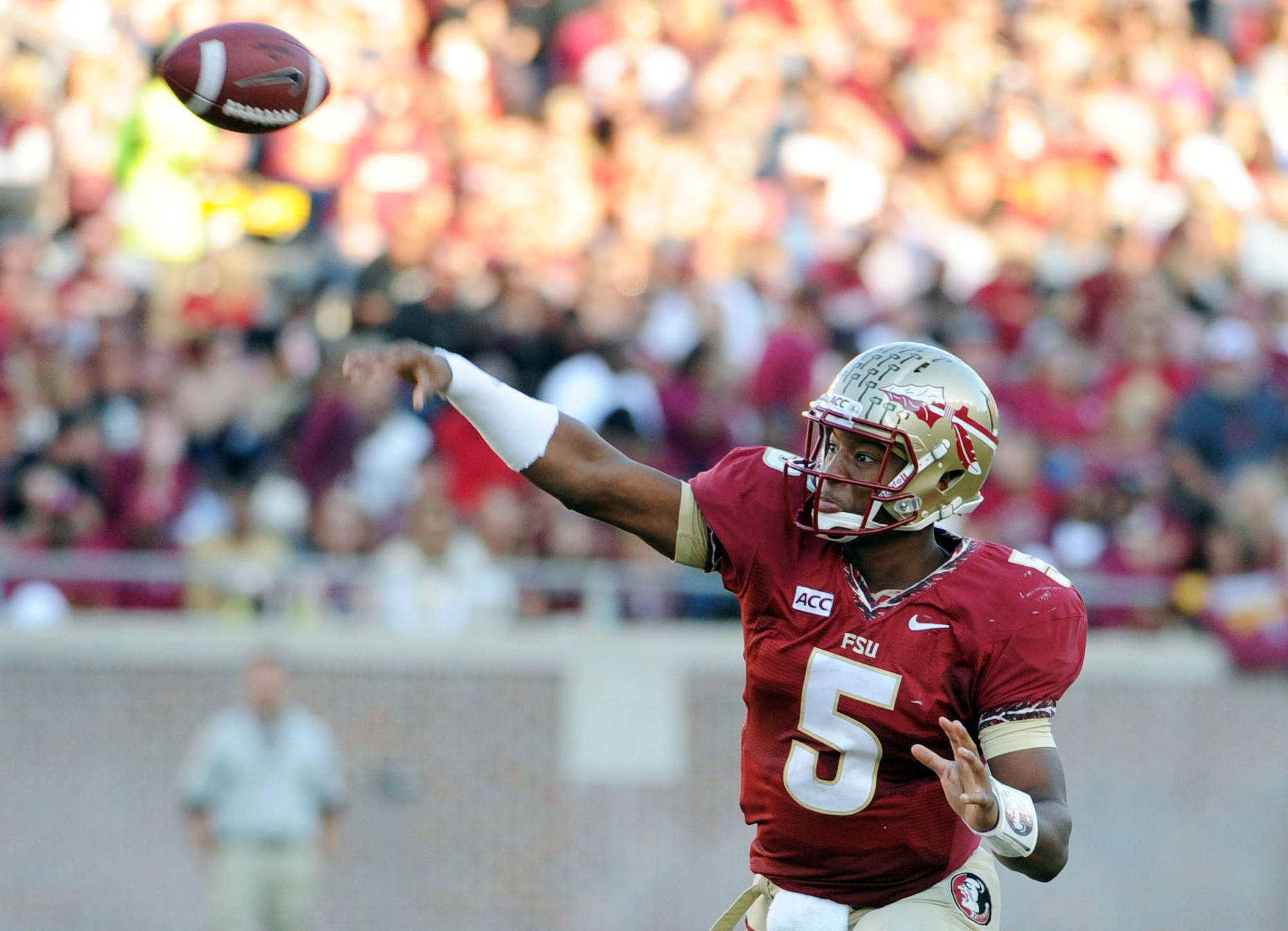 Jameis Winston (5) throws the ball during the game. Mandatory Credit: Melina Vastola-USA TODAY Sports