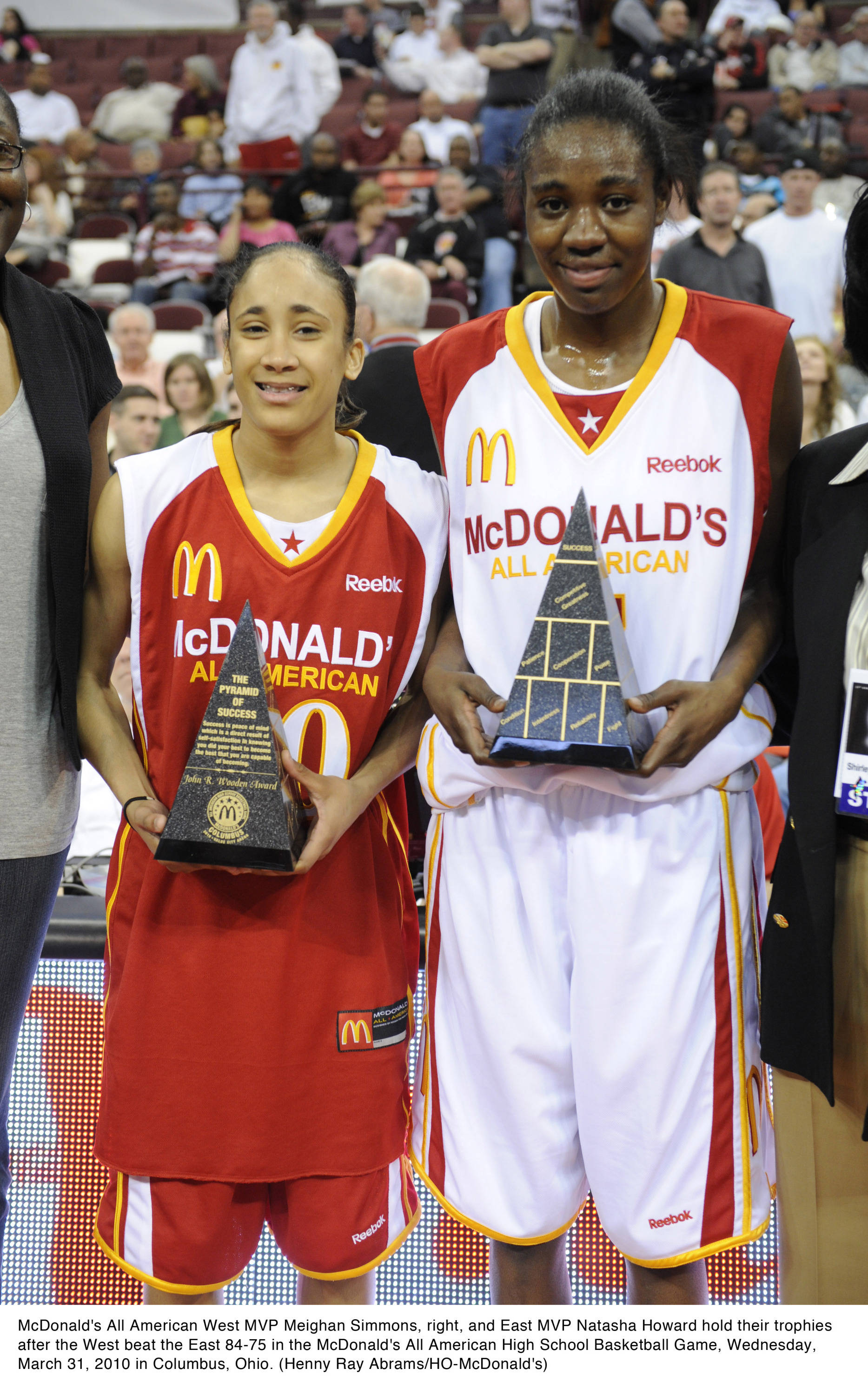 Sept. 21 ... McDonald's All American East MVP Natasha Howard (right) holds her trophy after the West beat the East 84-75 in the McDonald's All American High School Basketball Game, Wednesday, March 31, 2010. Howard is now a freshman basketball player at FSU. (Henny Ray Abrams/HO-McDonald's)