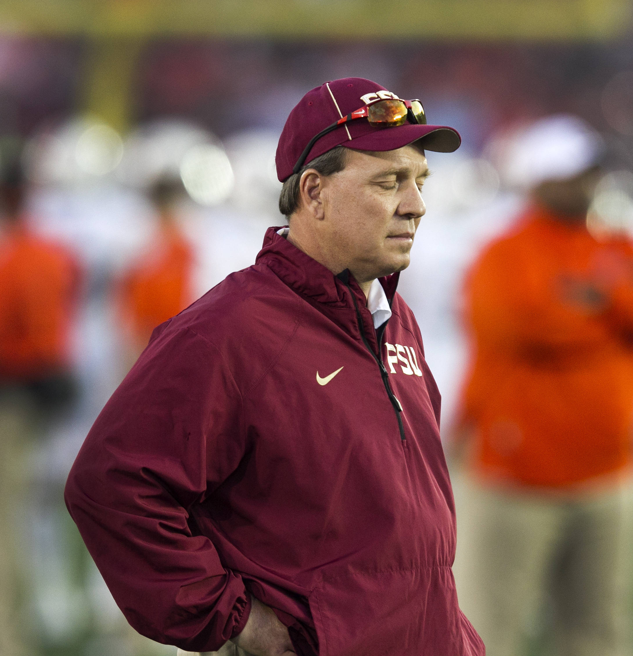 Head Coach Jimbo Fisher with a quiet moment before the game, BCS Championship, FSU vs Auburn, Rose Bowl, Pasadena, CA,  1-06-14,  (Photo by Steve Musco)