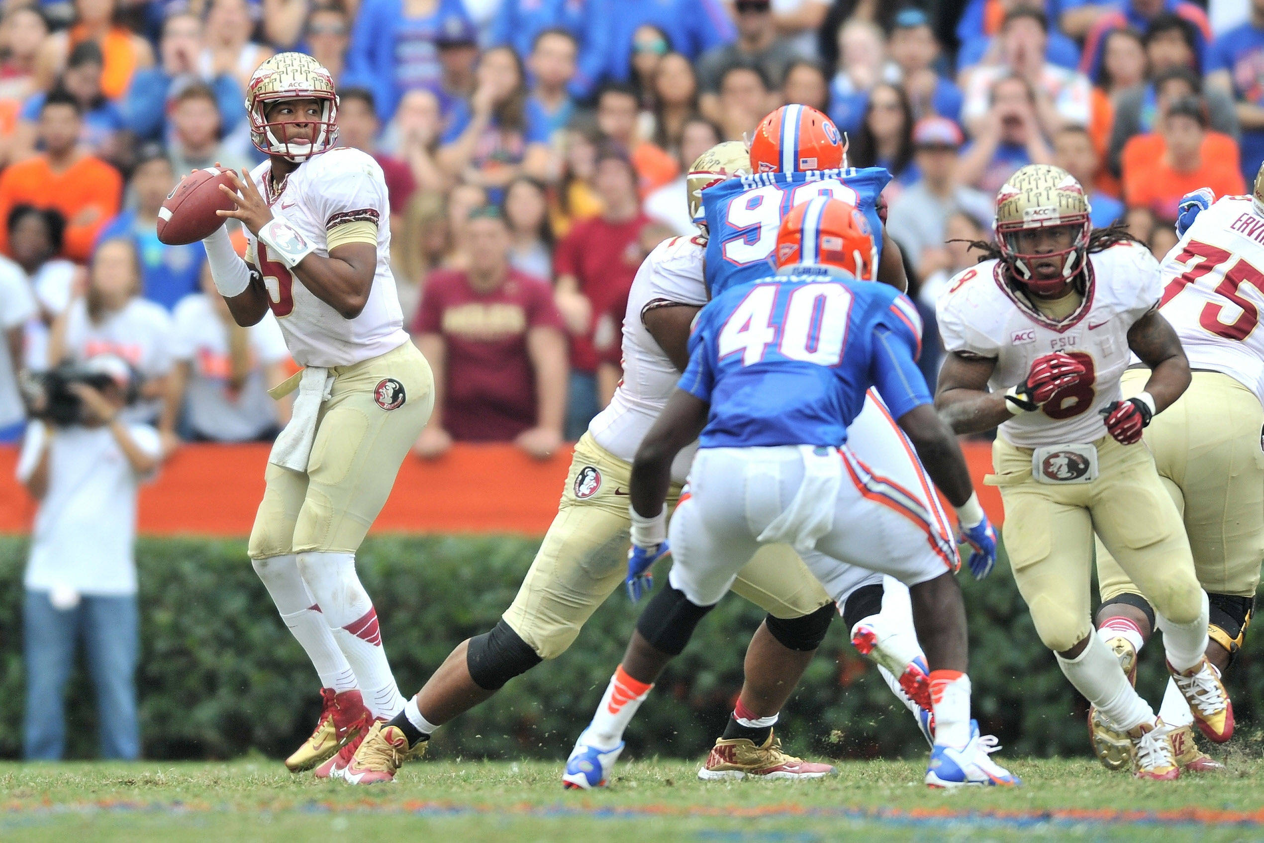 Jameis Winston (5) throws a pass. Mandatory Credit: Steve Mitchell-USA TODAY Sports