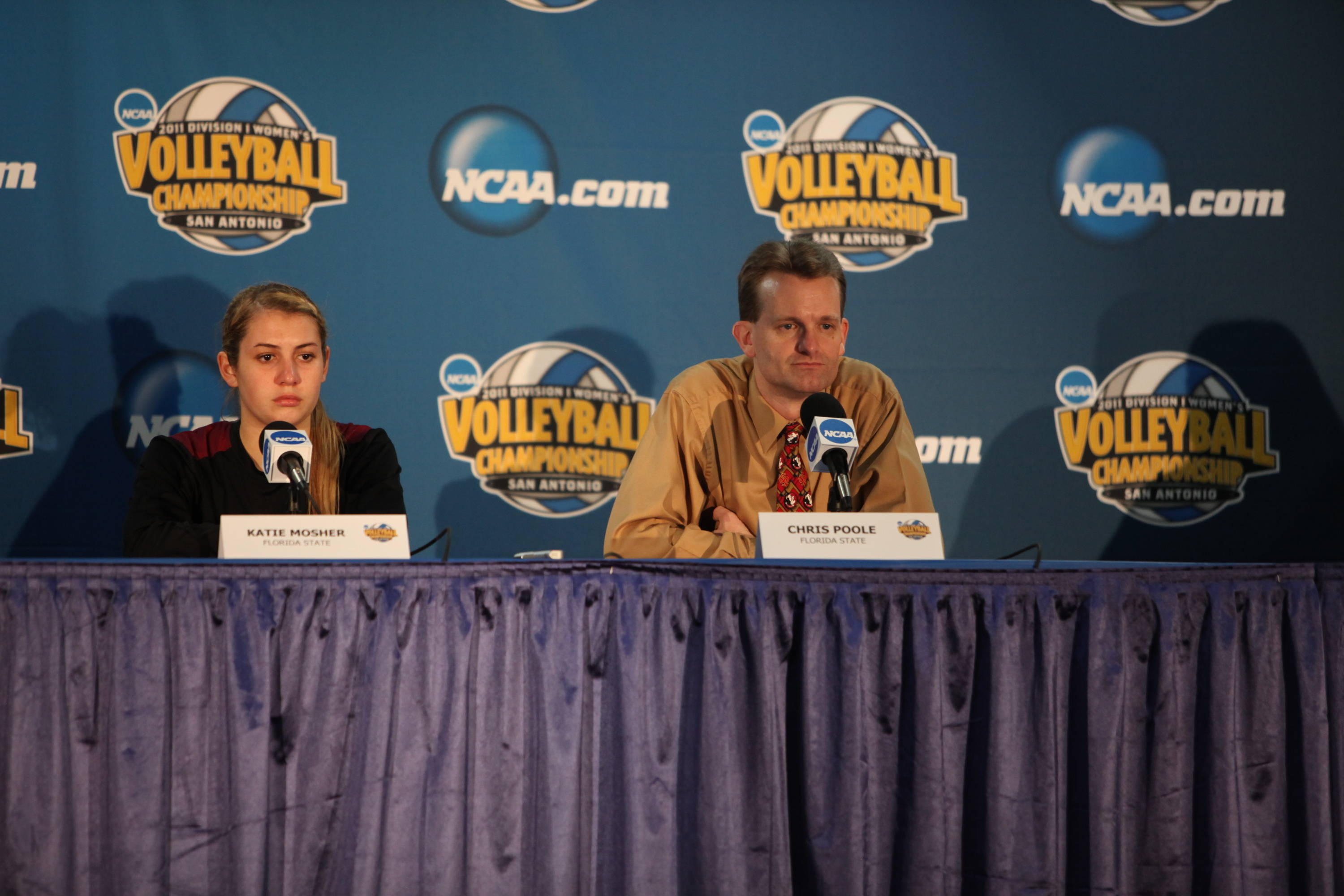 Katie Mosher (2), Chris Poole at post-game press conference