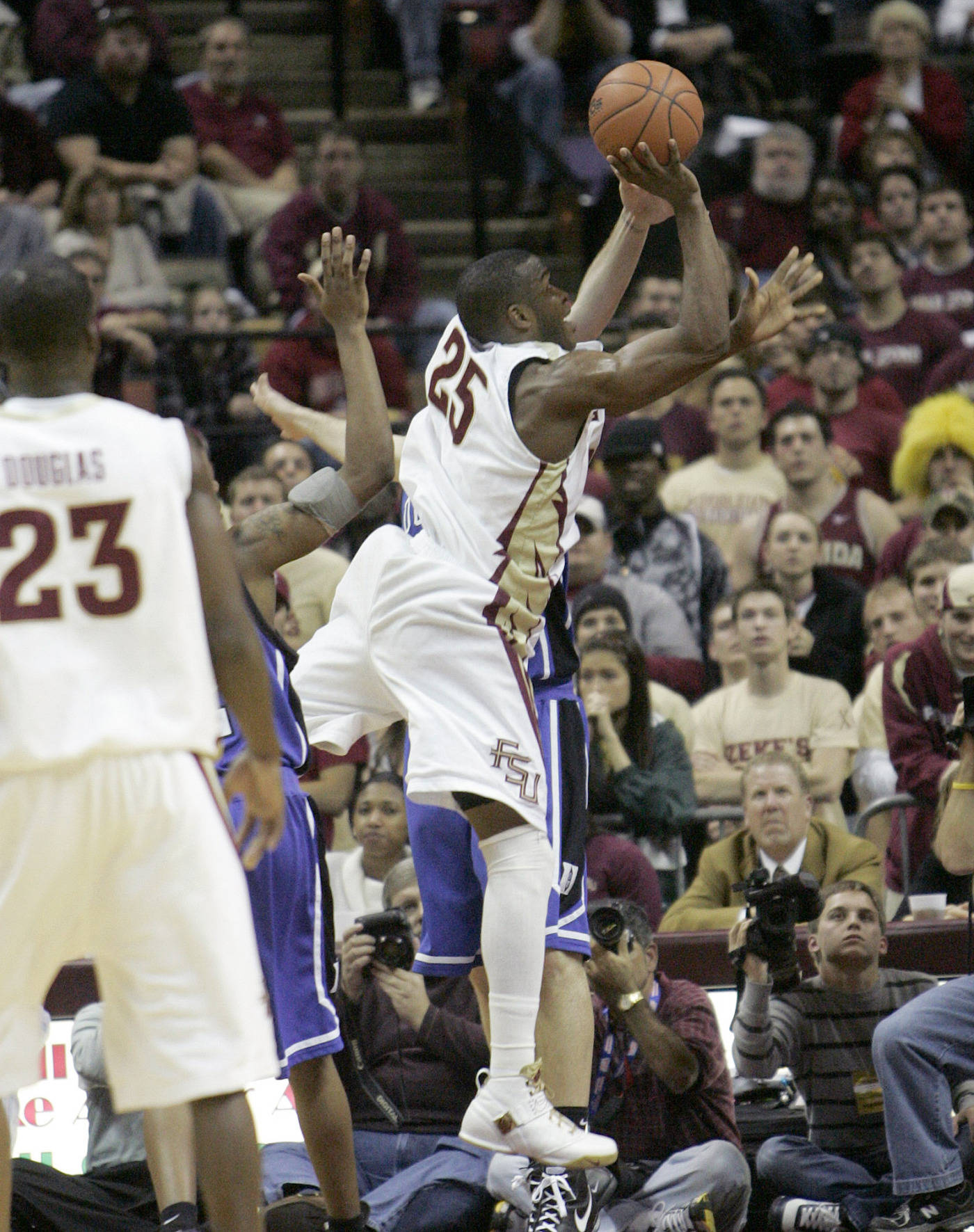 Florida State's Jason Rich shoots and scores two of his 18 points against Duke in a college basketball game on Wednesday, Jan. 16, 2008 in Tallahassee, Fla. Duke won 70-57.(
