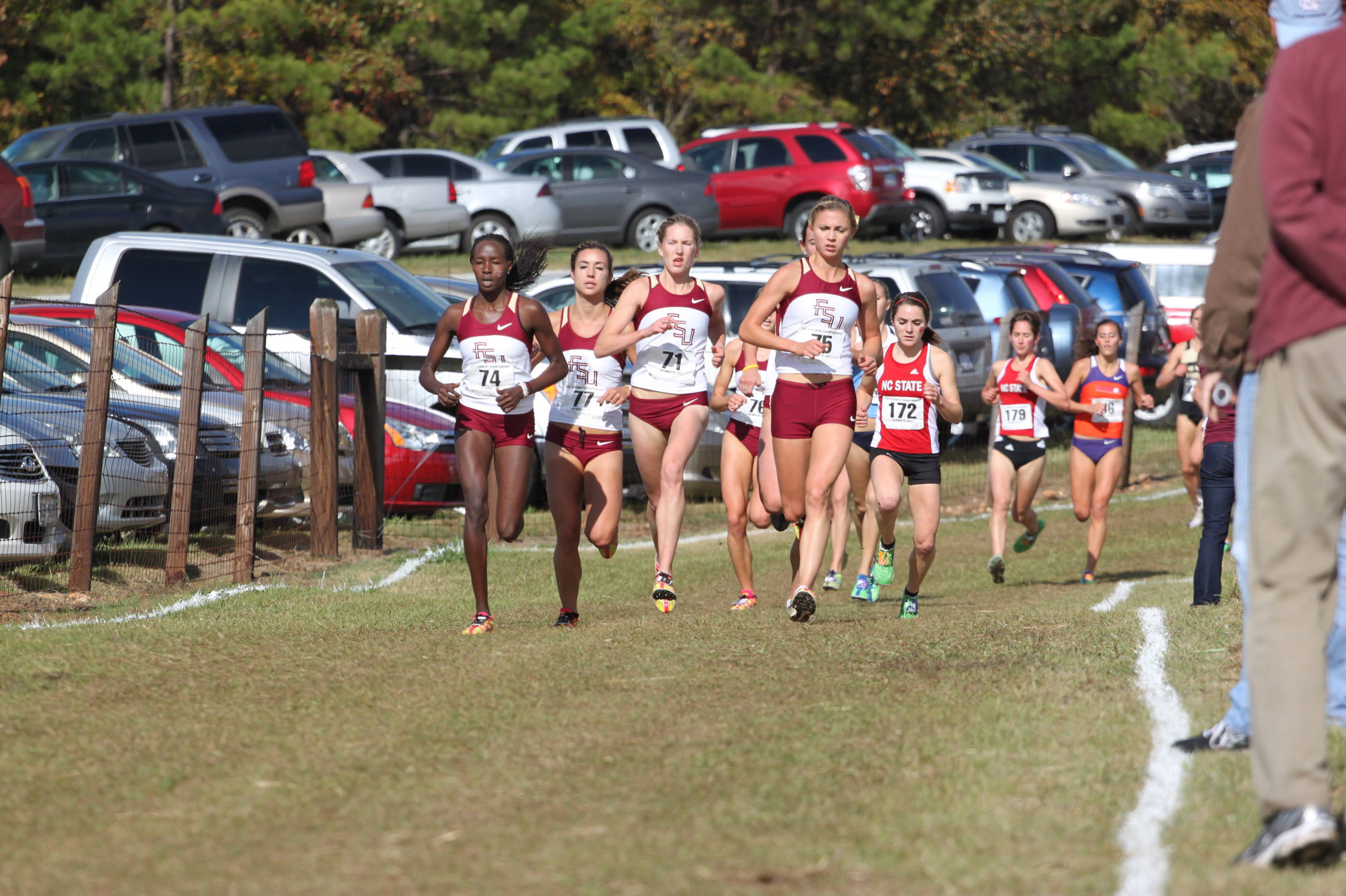 FSU's chase pack, from left to right, of Violah Lagat, Kayleigh Tyerman, Hannah Brooks, Colleen Quigley (obstructed) and Jessica Parry, sealed the Seminoles' fourth consecutive ACC title.