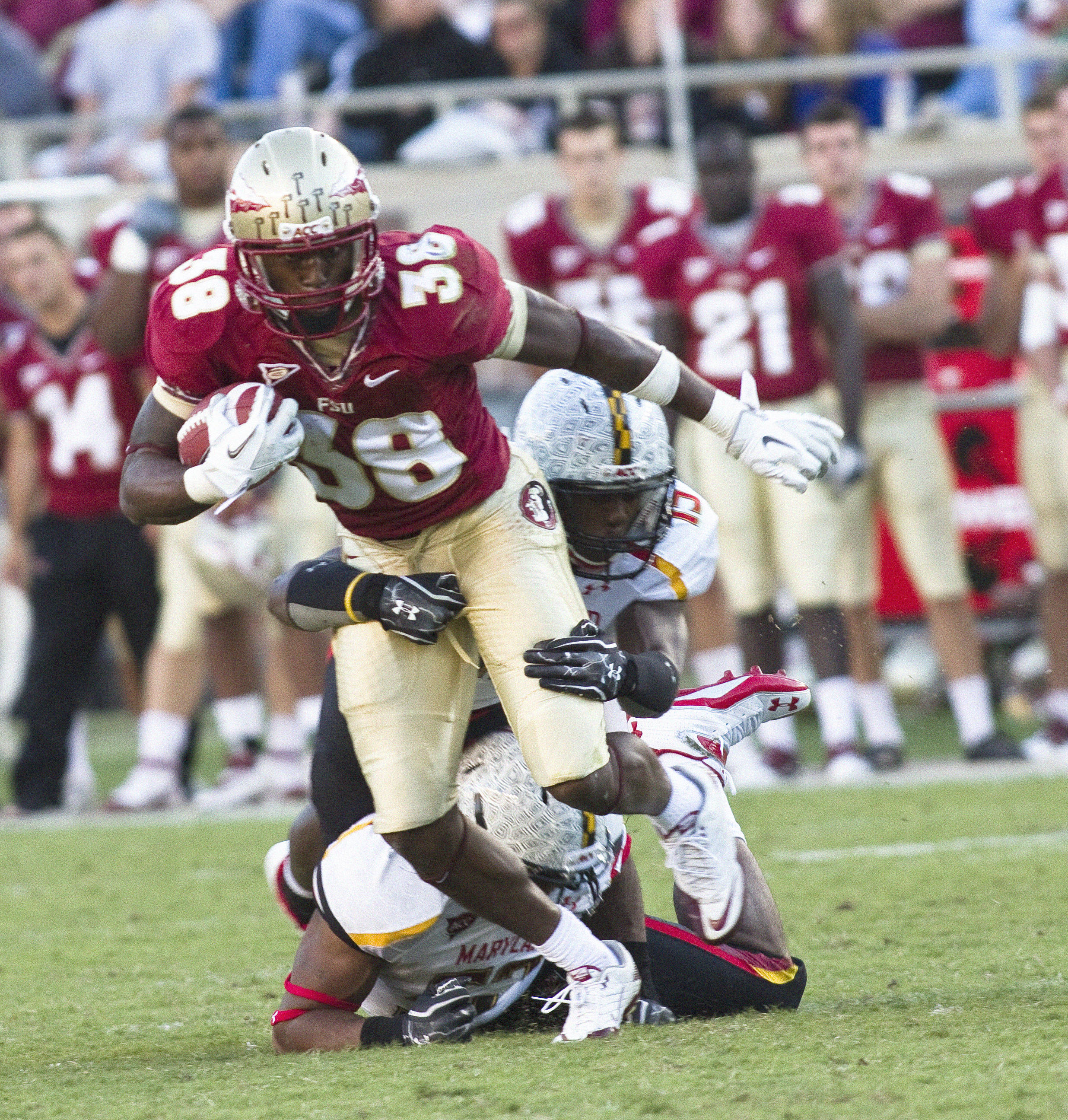 Jermaine Thomas (38) run after a catch. FSU vs Maryland 10/22/1111