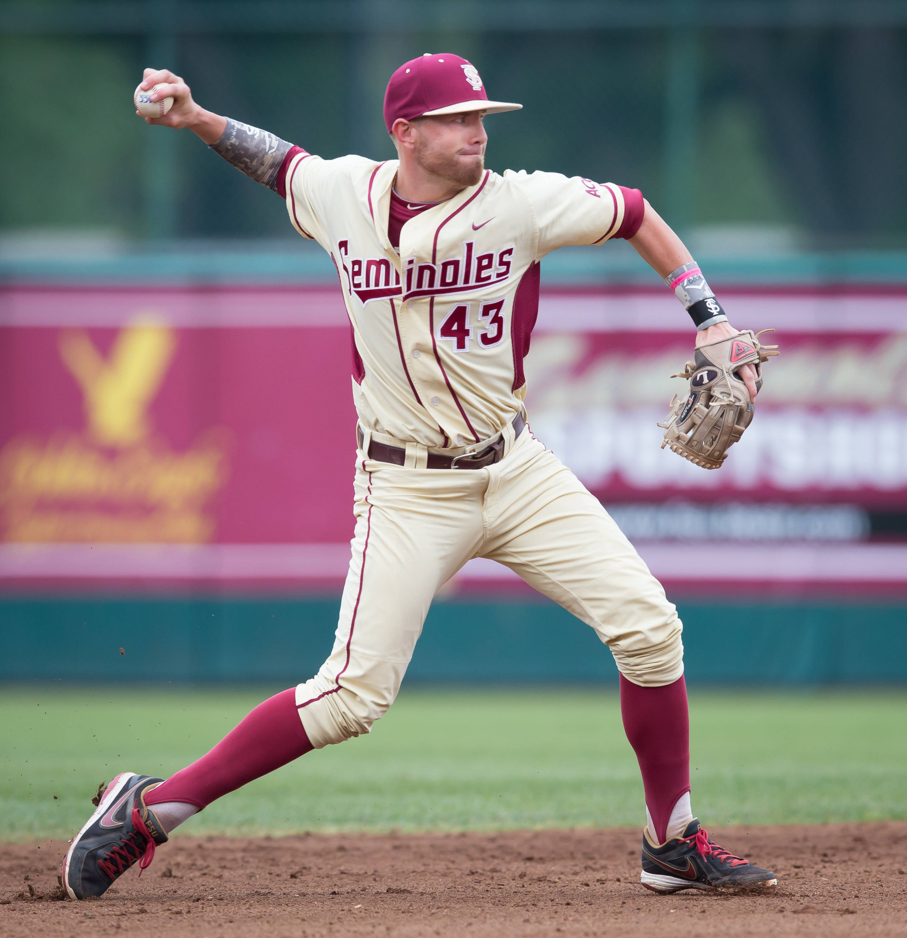 Casey Smit (43) again subbed at shortstop for FSU.