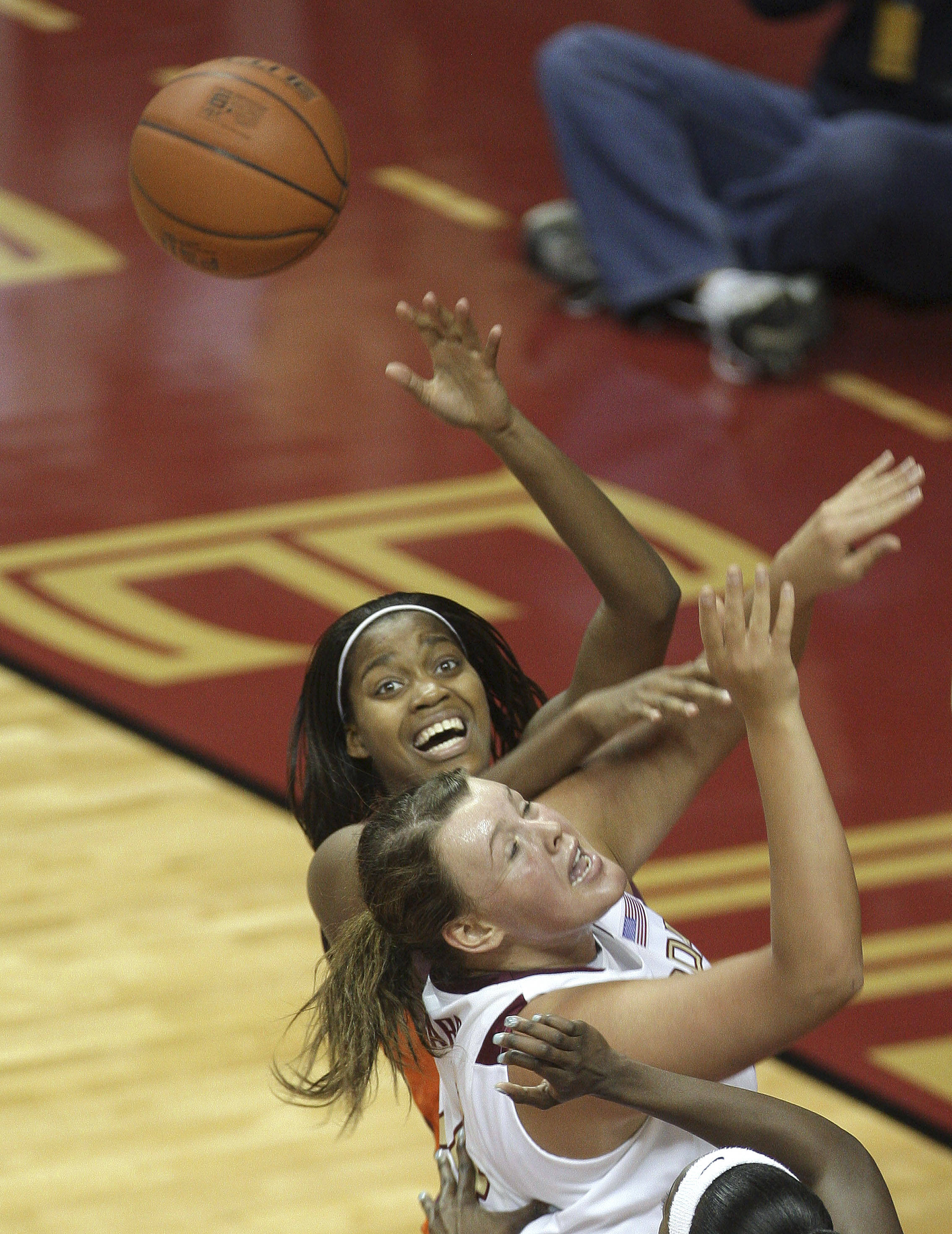 Florida State's Cierra Bravard, front, and Virginia Tech's Porschia Hadley, rear, look for a second-half rebound during an NCAA college basketball game, Thursday, Feb. 18, 2010, in Tallahassee, Fla. (AP Photo/Phil Coale)