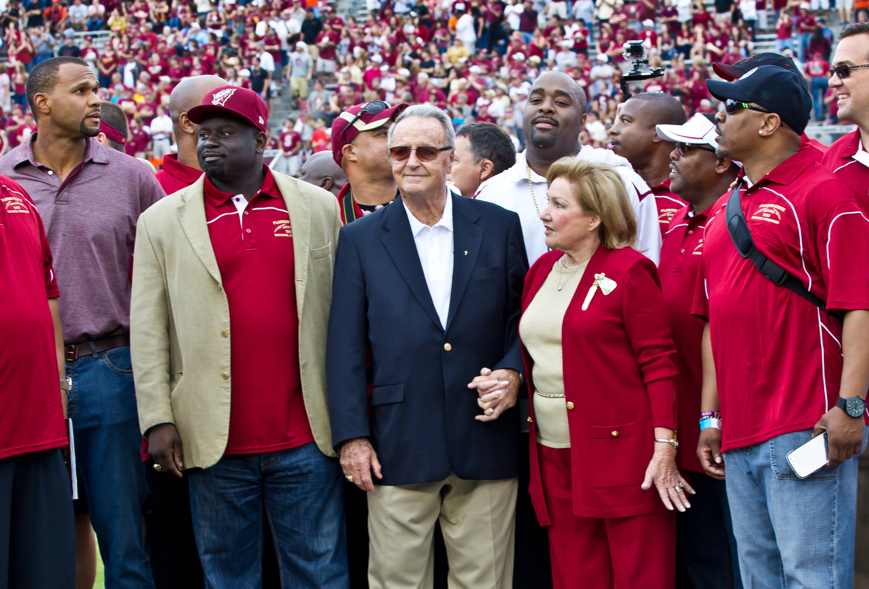 Coach Bobby Bowden and the 1993 National Championship football were recognized before the game.