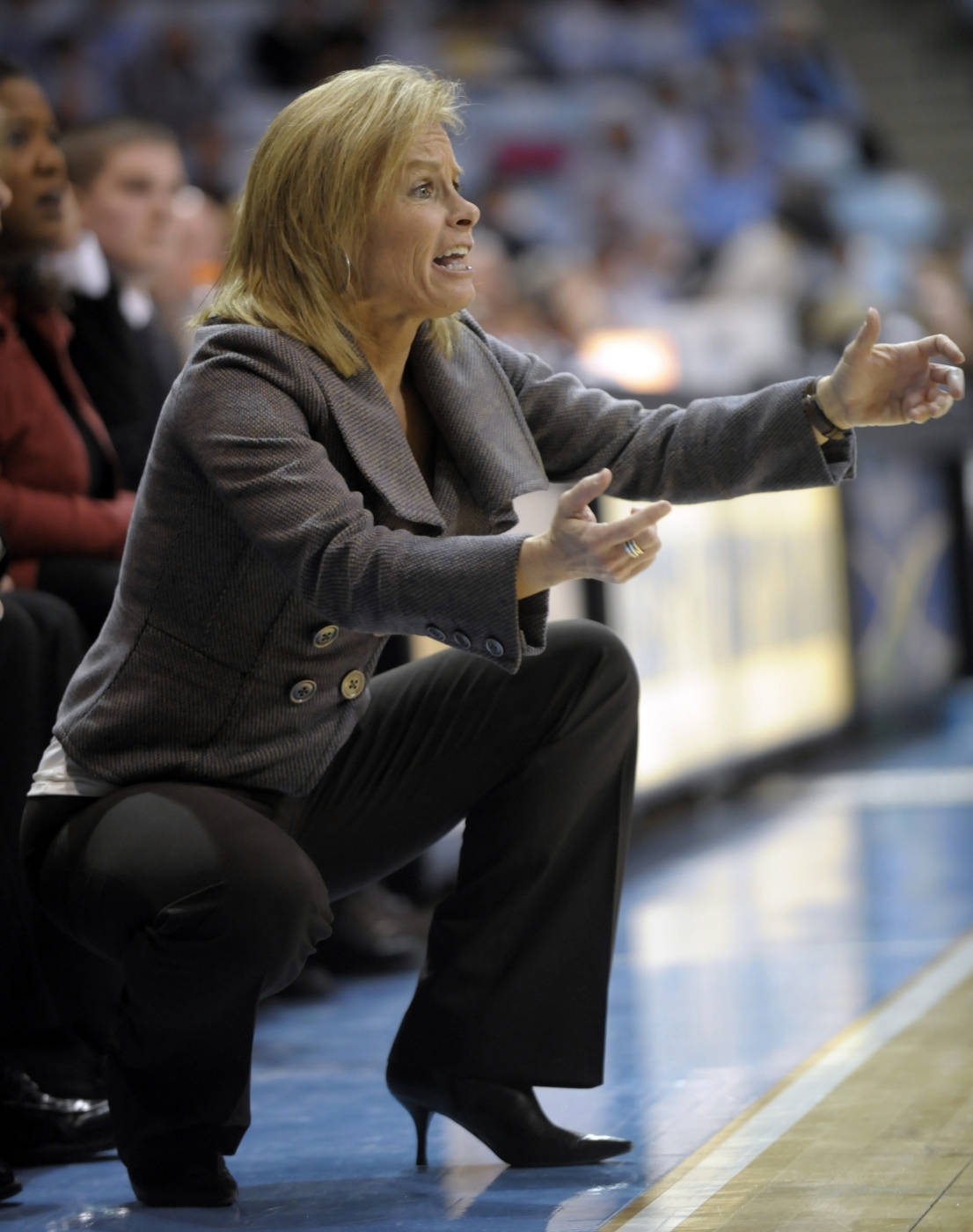 Florida State's head coach Sue Semrau yells to her team during the first half of an NCAA college basketball game against North Carolina in Durham, N.C., Monday, Feb. 1, 2010. Florida State won 83-73 over North Carolina. (AP Photo/Sara D. Davis)