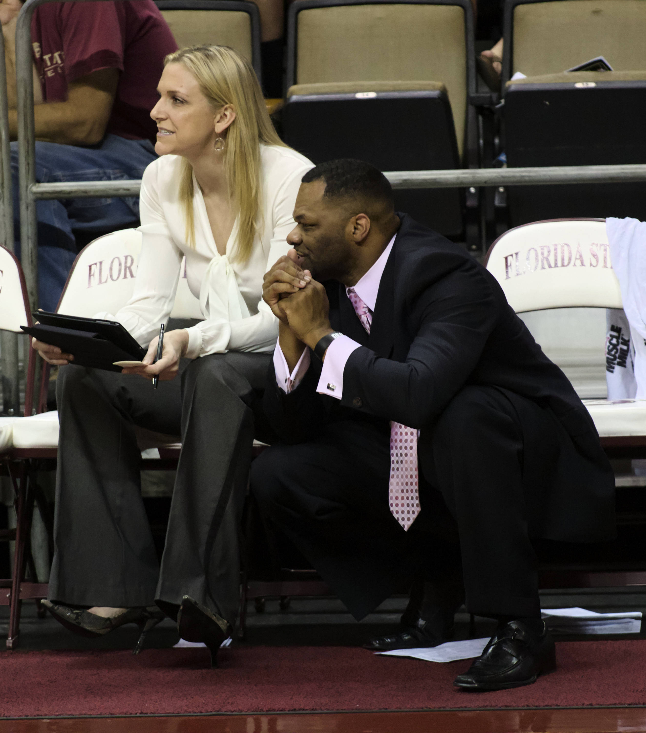 Assistant Coaches Brooke Wyckoff and Ron Hughey,FSU vs Samford, 11/11/12. (Photo by Steve Musco)