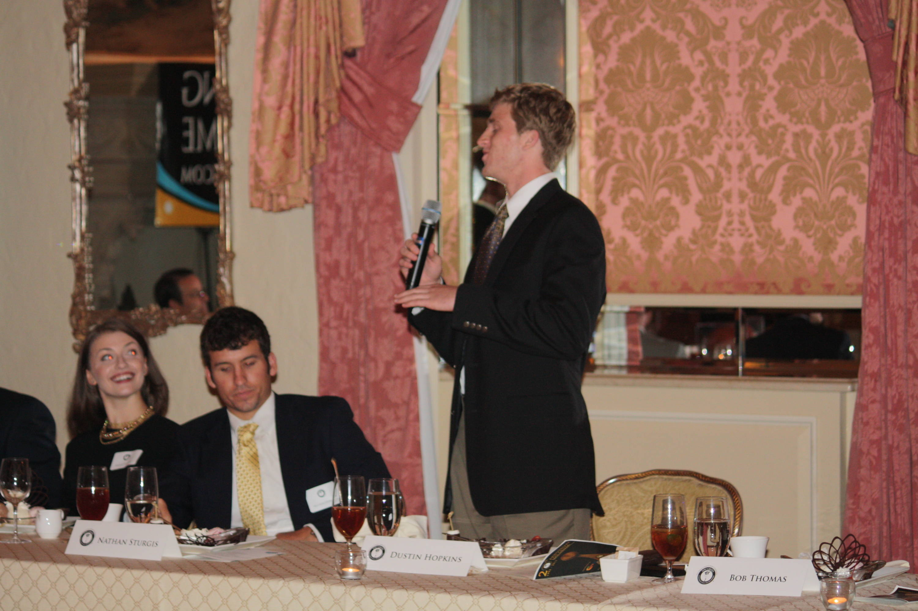 Dustin answers a few questions during Monday night's dinner at the famed Breakers in West Palm Beach.