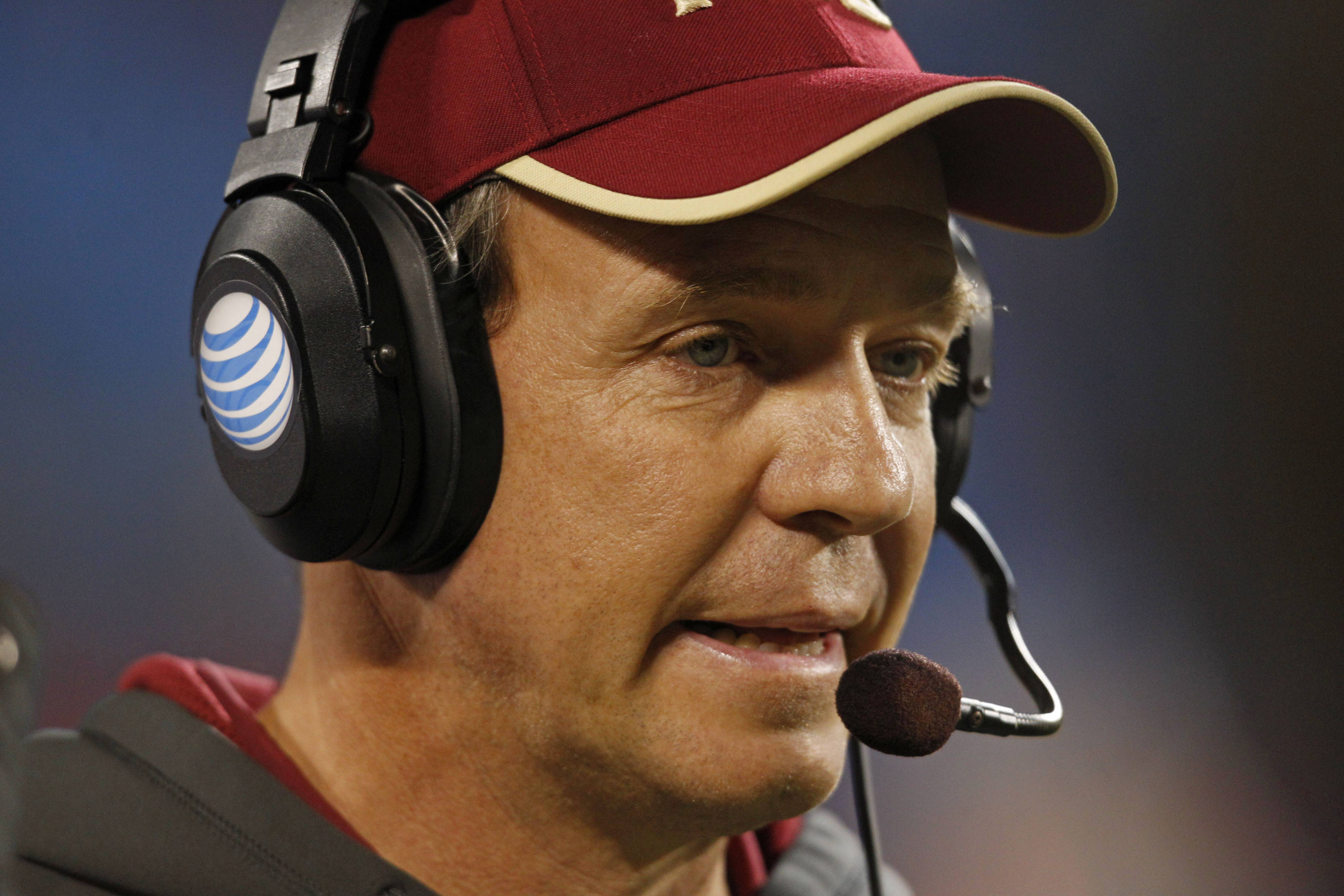 Florida State head coach Jimbo Fisher looks on during the first half. (AP Photo/Chuck Burton)