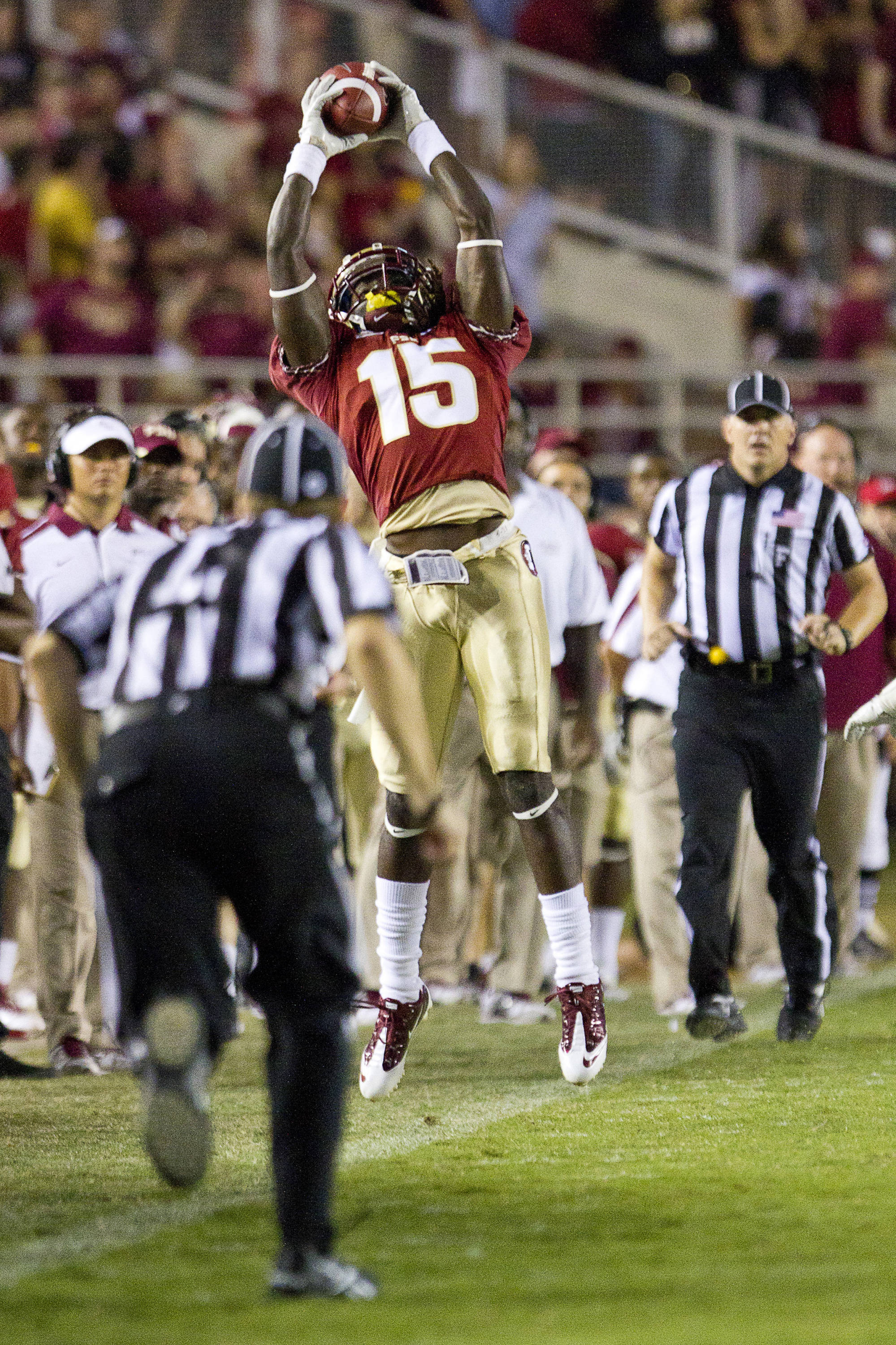 Greg Dent (15) leaps to make a catch, but falls out of bounds during the game against Oklahoma on September 17, 2011.