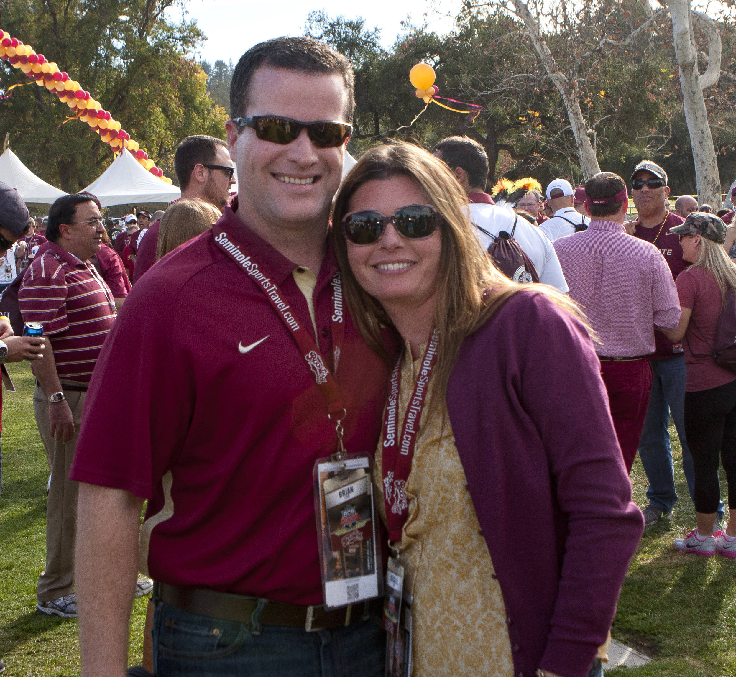Capital Regional Medical Center's CEO Brian Cook and his wife Natalie ready for the game, FSU at BCS Championship, Rose Bowl, Pasadena, CA,  1-06-14,  (Photo by Steve Musco)