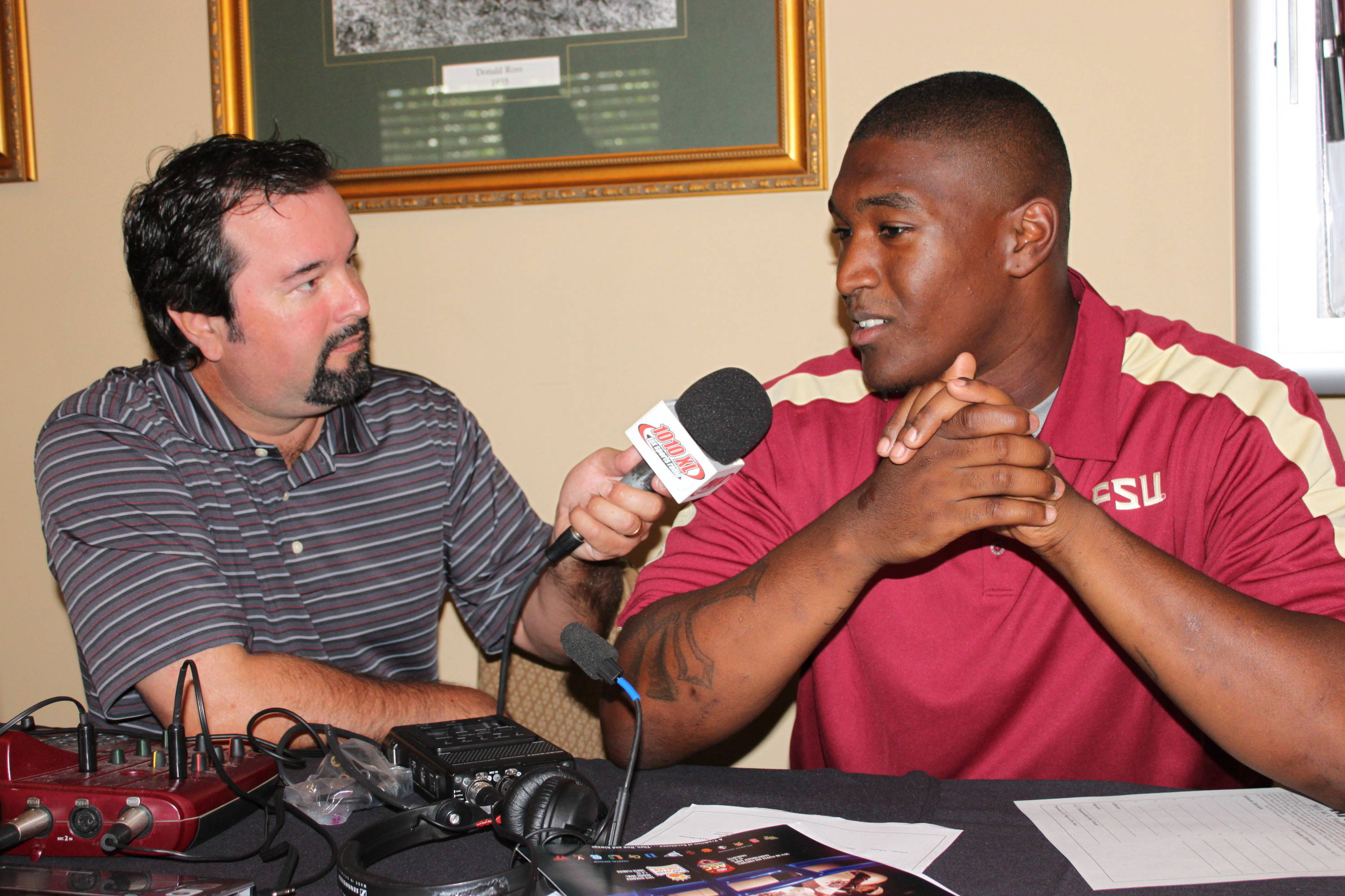 Brandon Jenkins worked his way around Radio Row during one of many stops on the day. This time he's chatting with Jacksonville 1010XL's Joe Cowart.