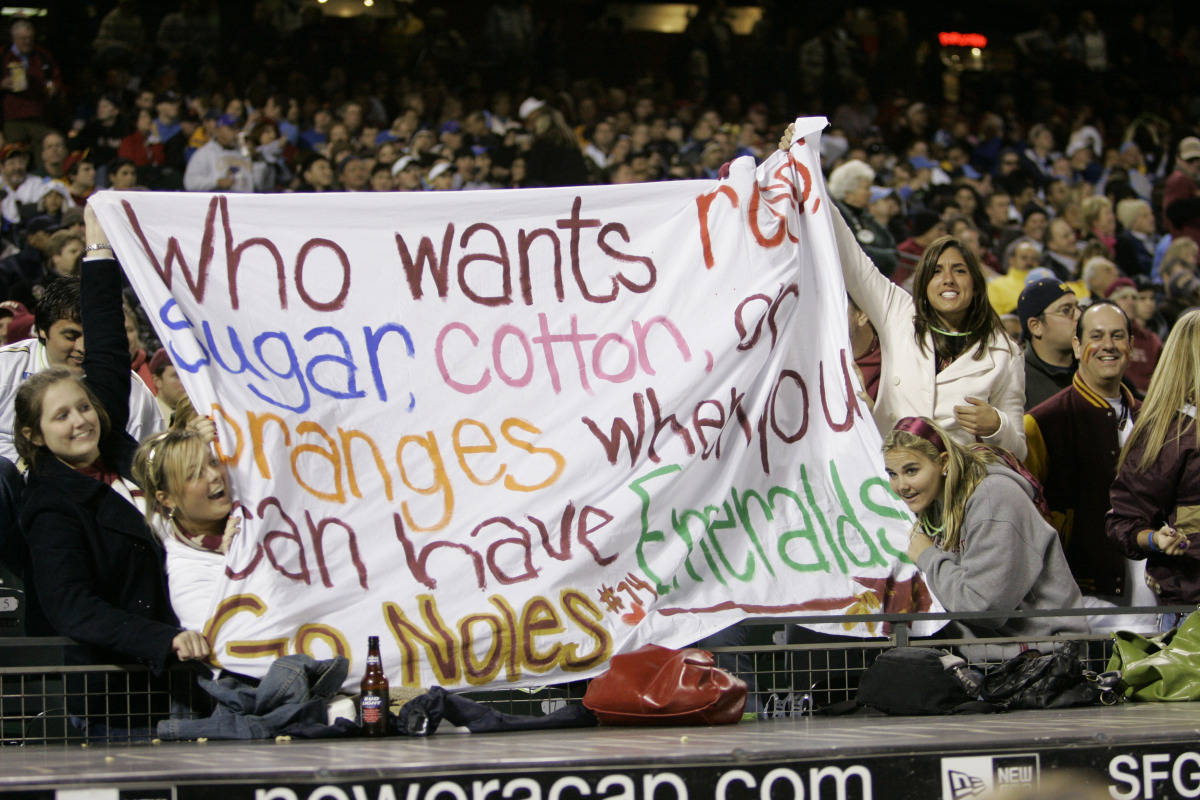 Florida State fans root for their team as they play UCLA during the first half of the Emerald Bowl college football game in San Francisco, Wednesday, Dec. 27, 2006.(AP Photo/Marcio Jose Sanchez)