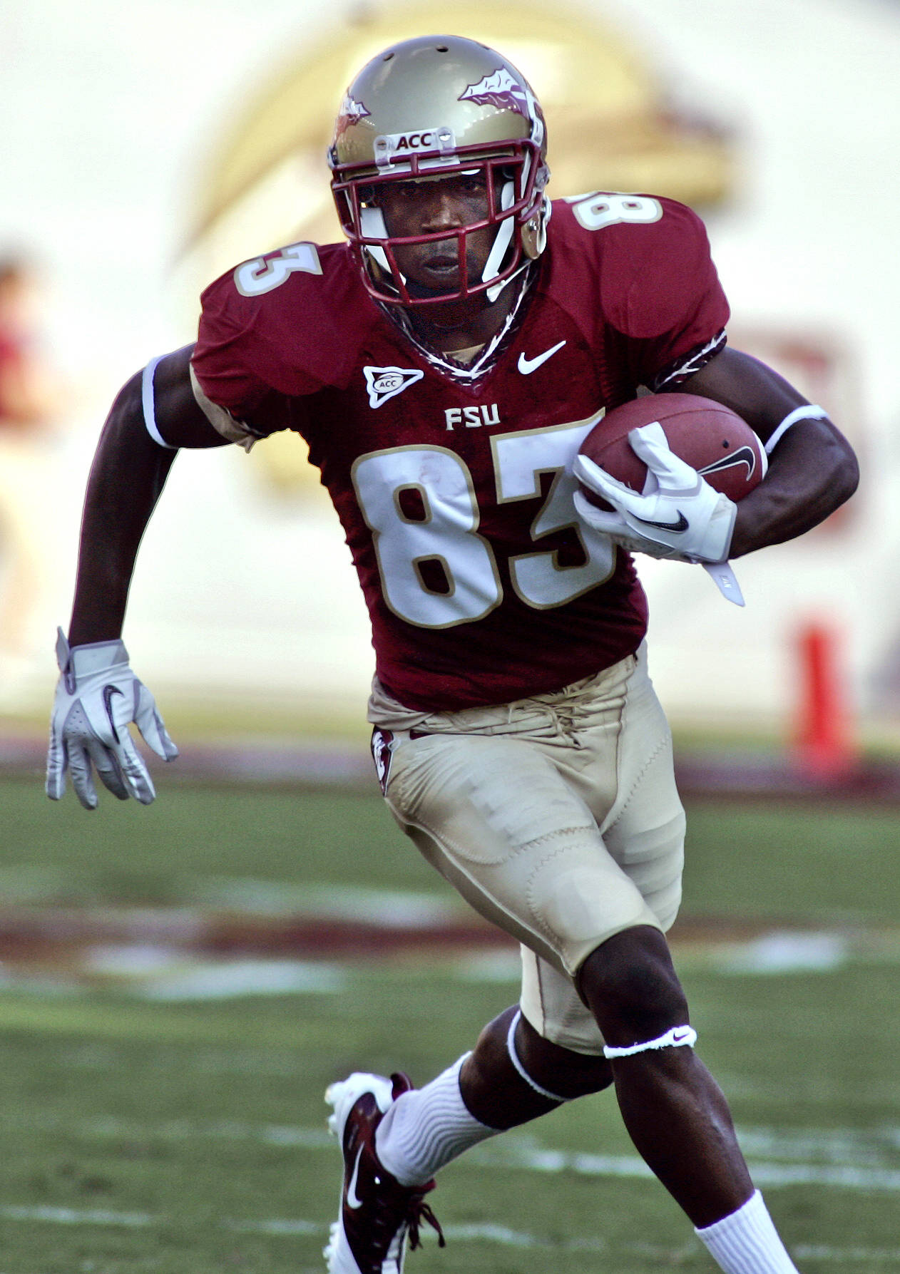 Florida State wide receiver Bert Reed (83) runs against Charleston Southern in the first quarter of an NCAA college football game on Saturday, Sept. 10, 2011, in Tallahassee, Fla. Reed had two first half touchdowns. (AP Photo/Phil Sears)