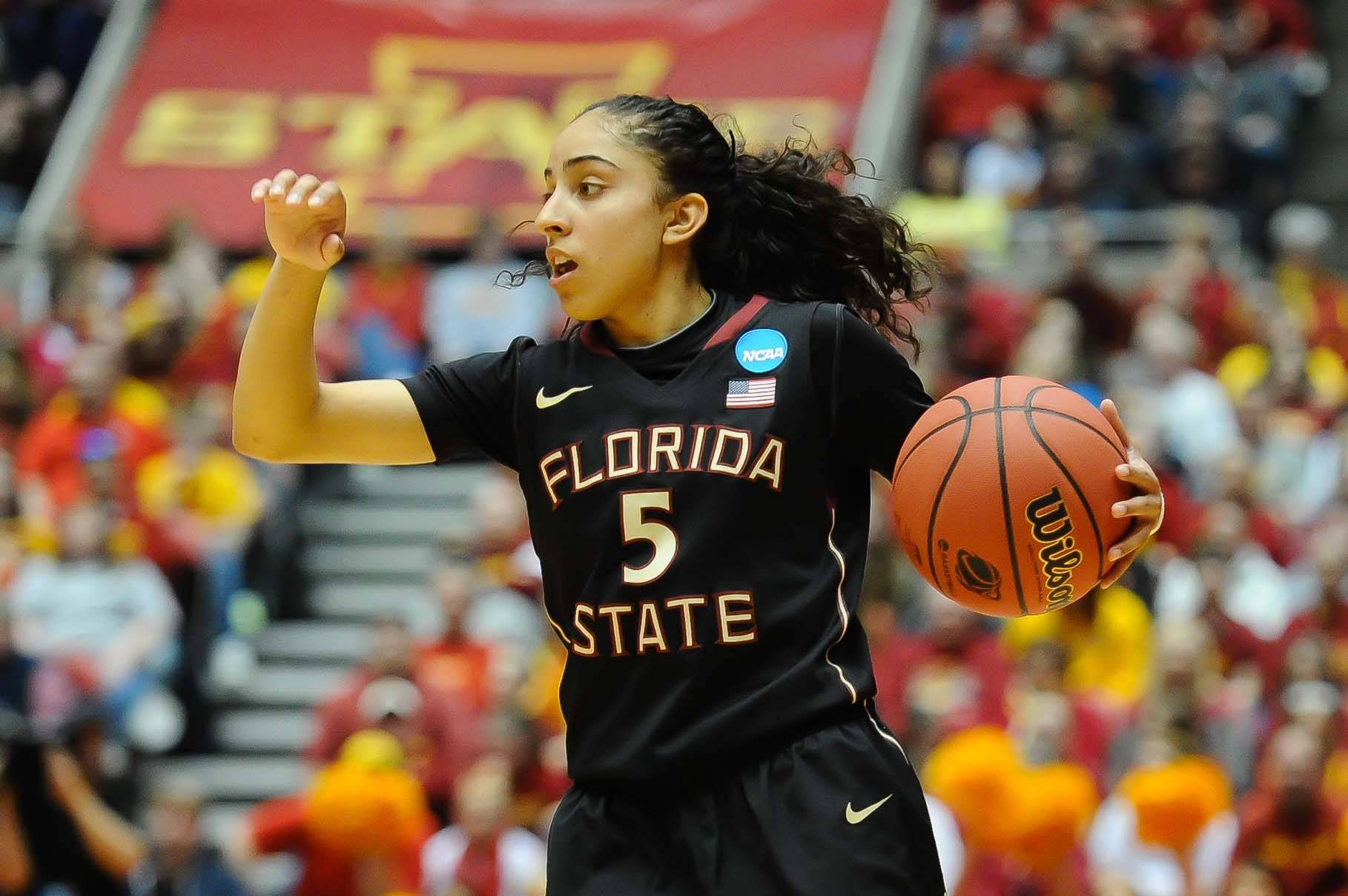 Mar 22, 2014; Ames, IA, USA; Florida State Seminoles guard Cheetah Delgado (5) calls out a play against the Iowa State Cyclones. Mandatory Credit: Steven Branscombe-USA TODAY Sports