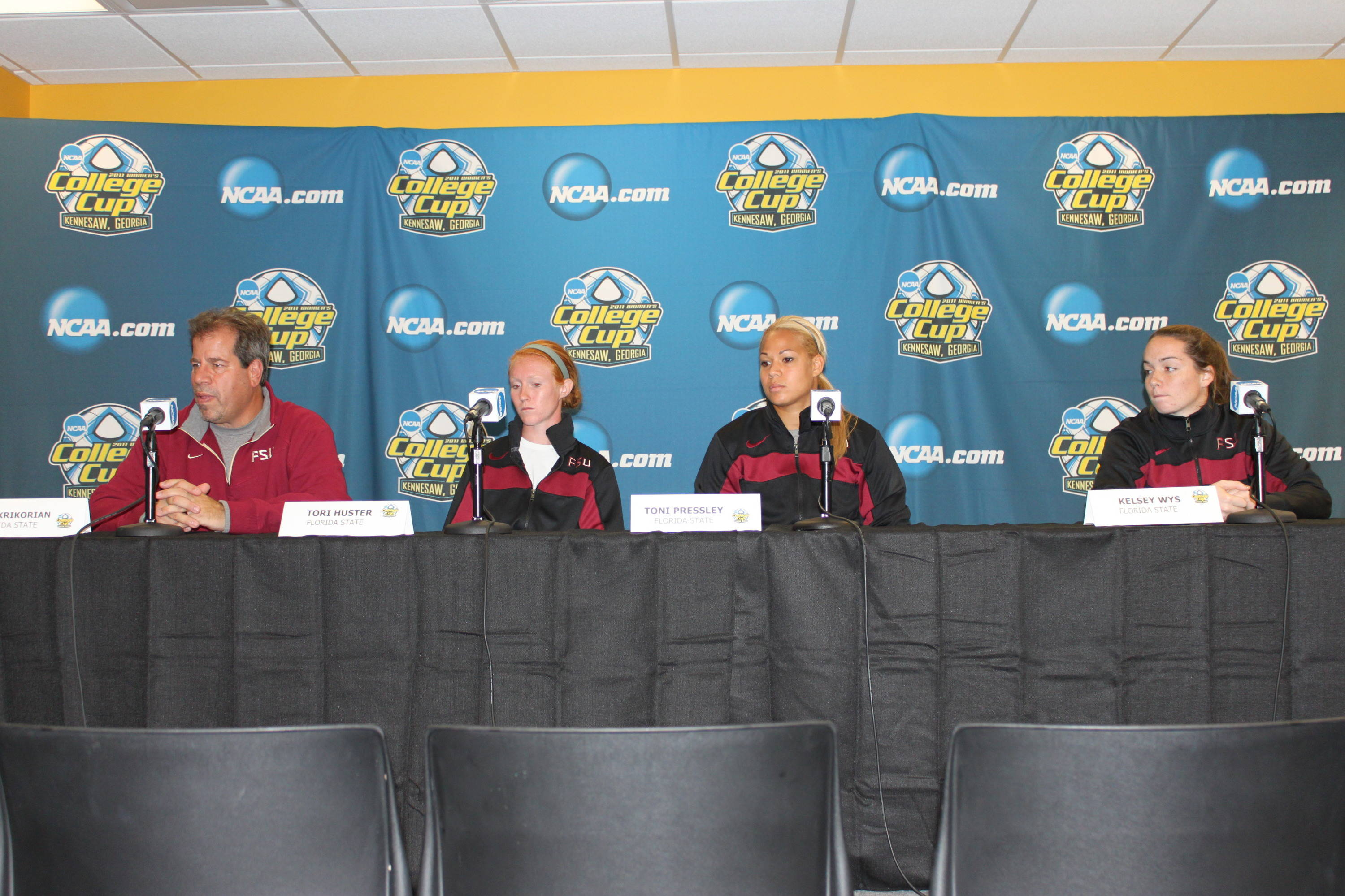 Head Coach Mark Krikorian, Kelsey Wys, Toni Pressley and Tori Huster finish up their session with the media during Thursday's press conference.