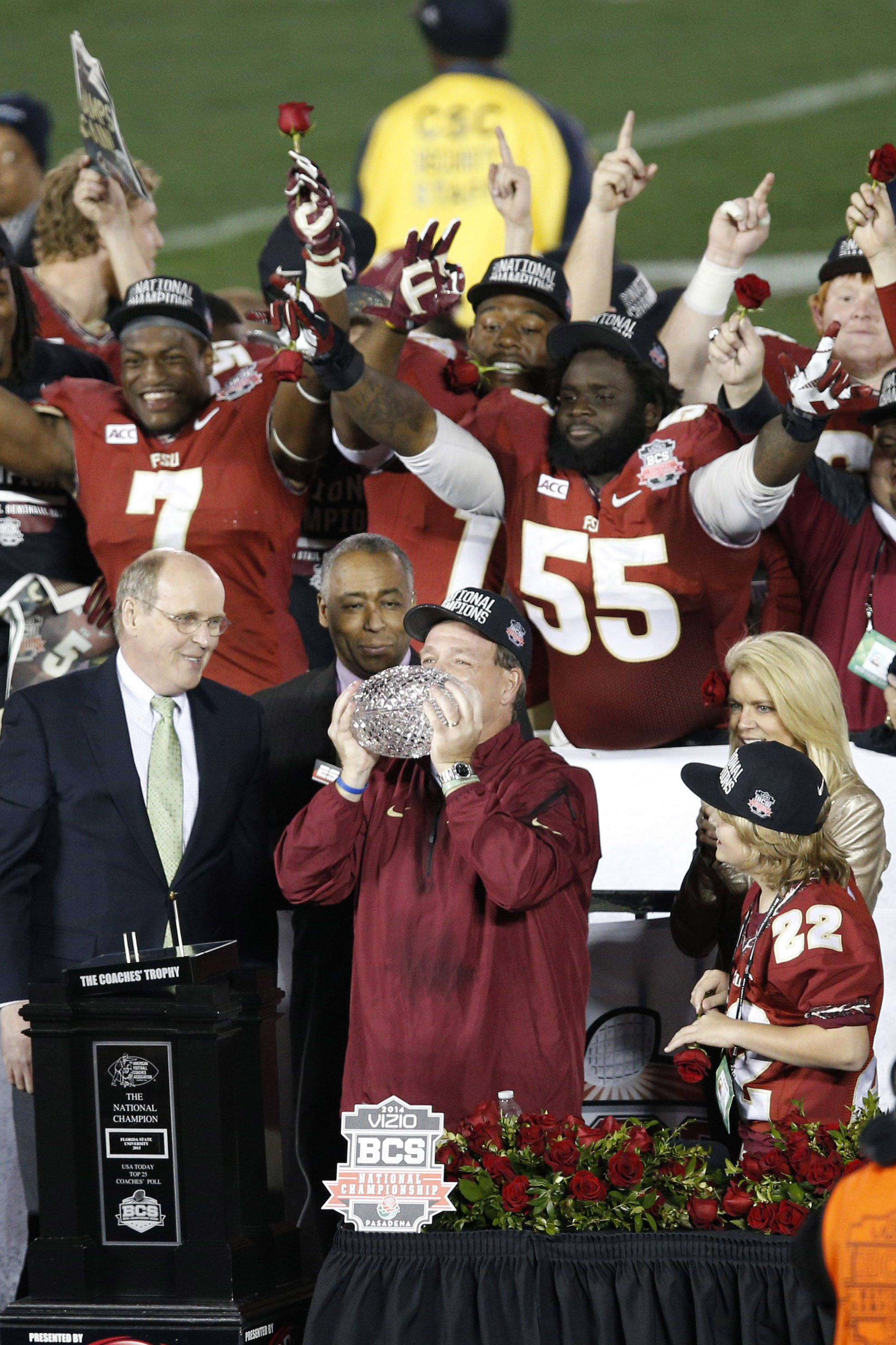 Jan 6, 2014; Pasadena, CA, USA; Florida State Seminoles head coach Jimbo Fisher kisses the Coaches Trophy after defeating the Auburn Tigers 34-31 in the 2014 BCS National Championship game at the Rose Bowl.  Mandatory Credit: Kelvin Kuo-USA TODAY Sports