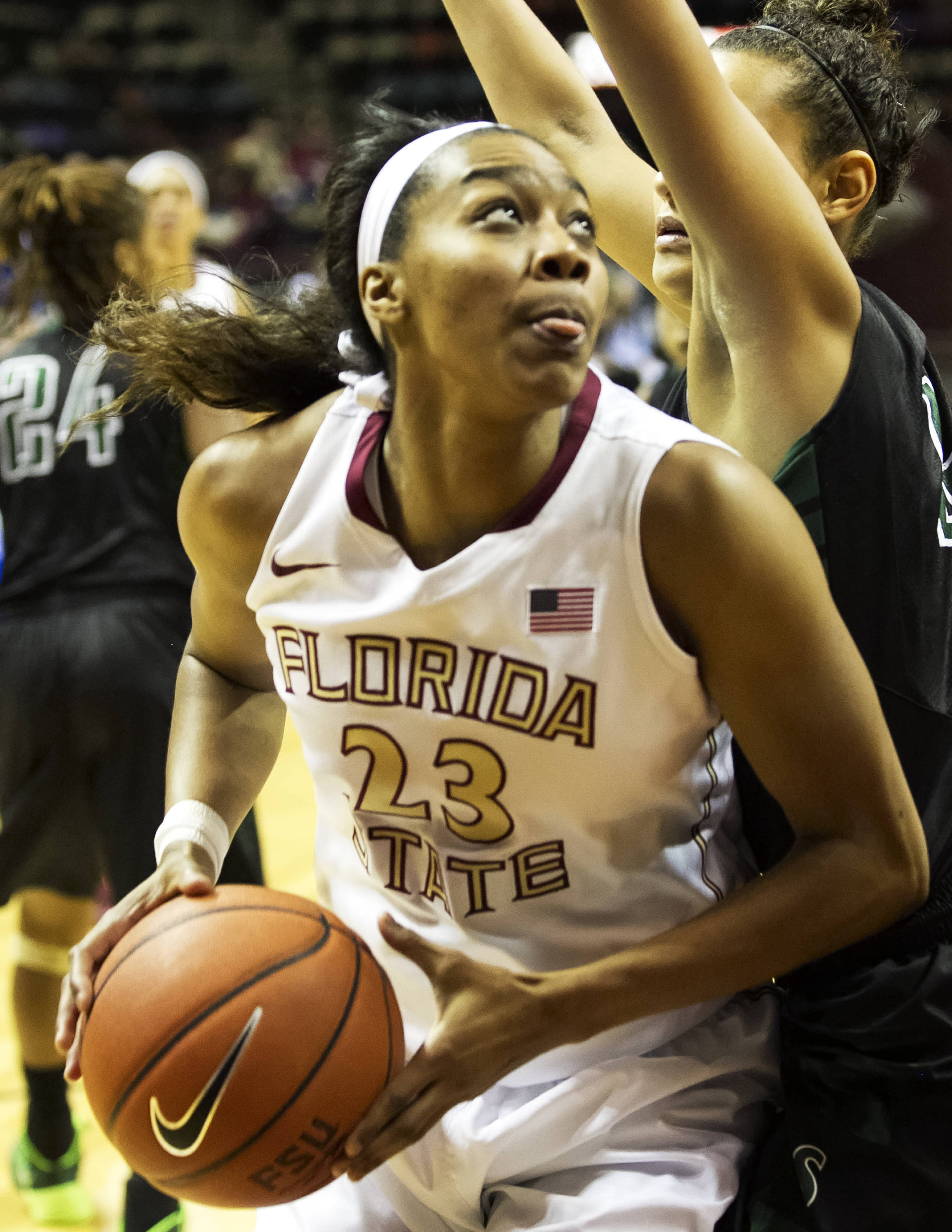 Ivey Slaughter (23),  FSU vs Stetson, 11-29-13,  (Photo by Steve Musco)