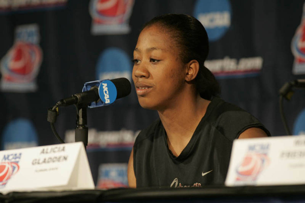 Alicia Gladden at the press conference.