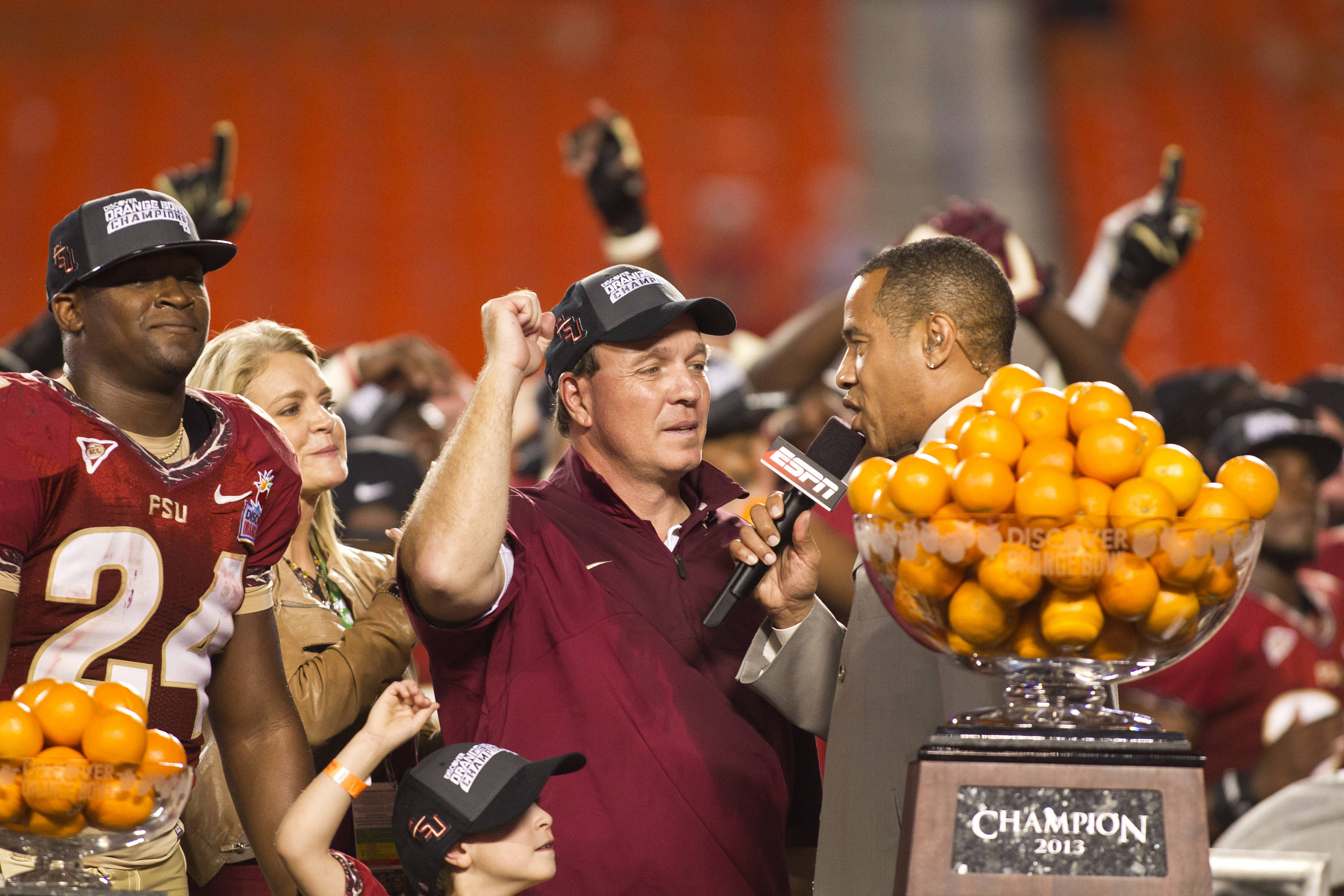Head Coach Jimbo Fisher, MVP Lonnie Pryor, FSU vs No. Illinois, 01/01/13. (Photo by Steve Musco)